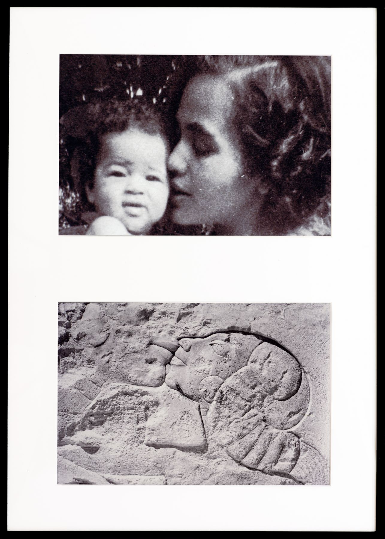 Lorraine O'Grady, Miscegenated Family Album (A Mother's Kiss), T: Candace and Devonia; B: Nefertiti and daughter, 1980/1994