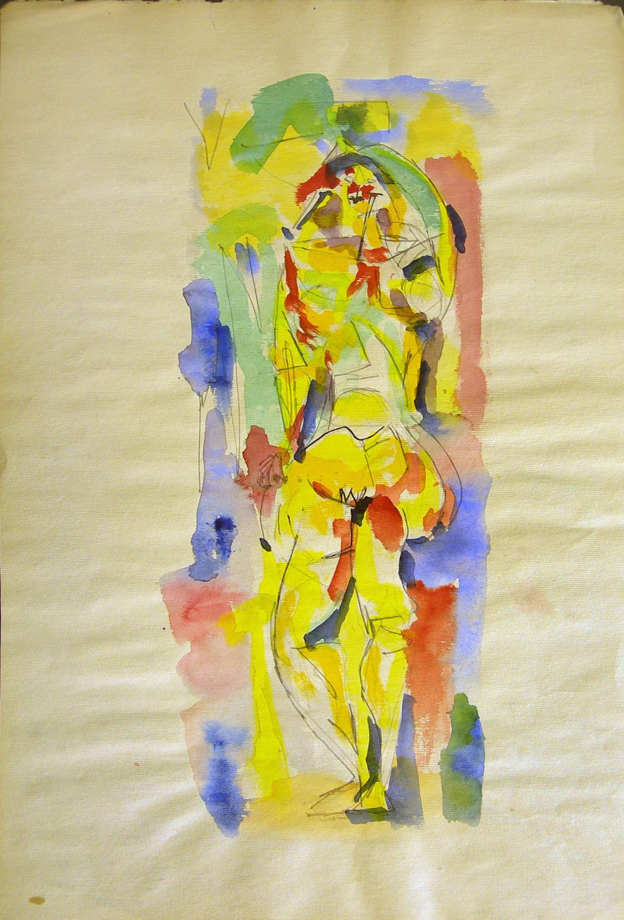 Untitled (Standing Woman), c. 1946, Watercolor and pencil on paper