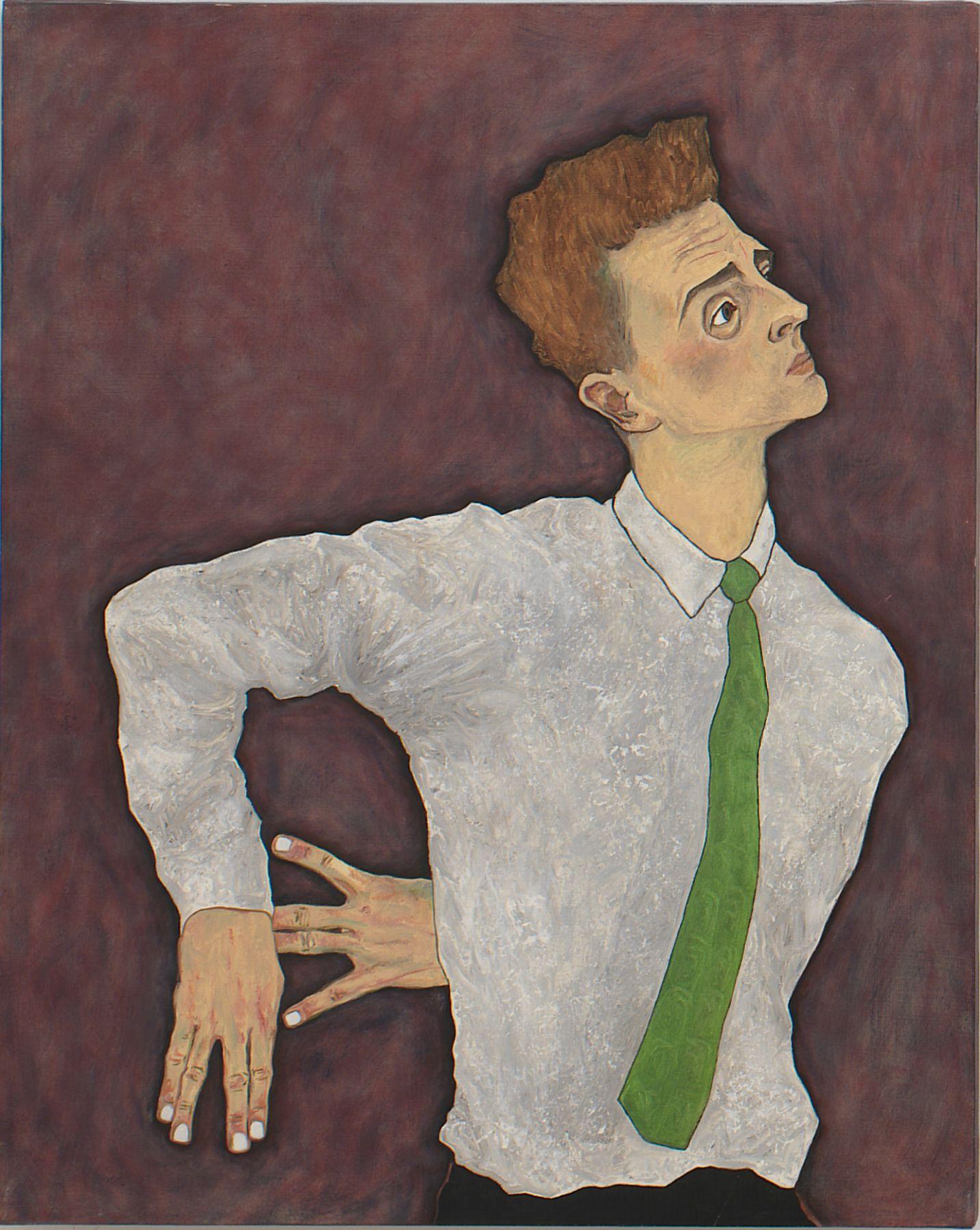 Self Portrait as Egon Schiele, 1996, Oil On Canvas