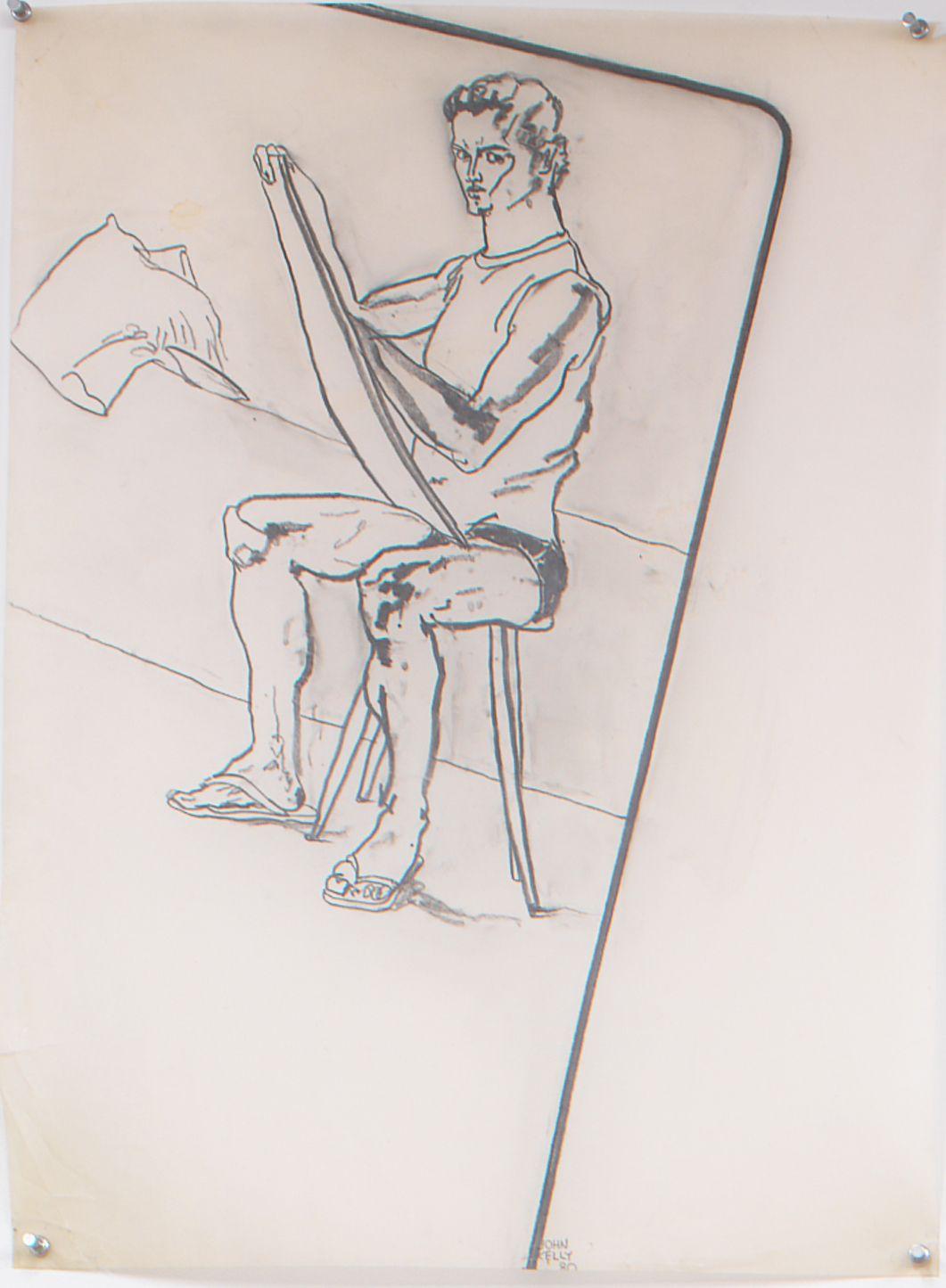 Self Portrait II, 1980, Graphite on paper