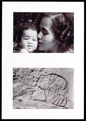 Lorraine O'Grady, Miscegenated Family Album (A Mother's Kiss), T: Candace and Devonia; B: Nefertiti and daughter (1980/1994)