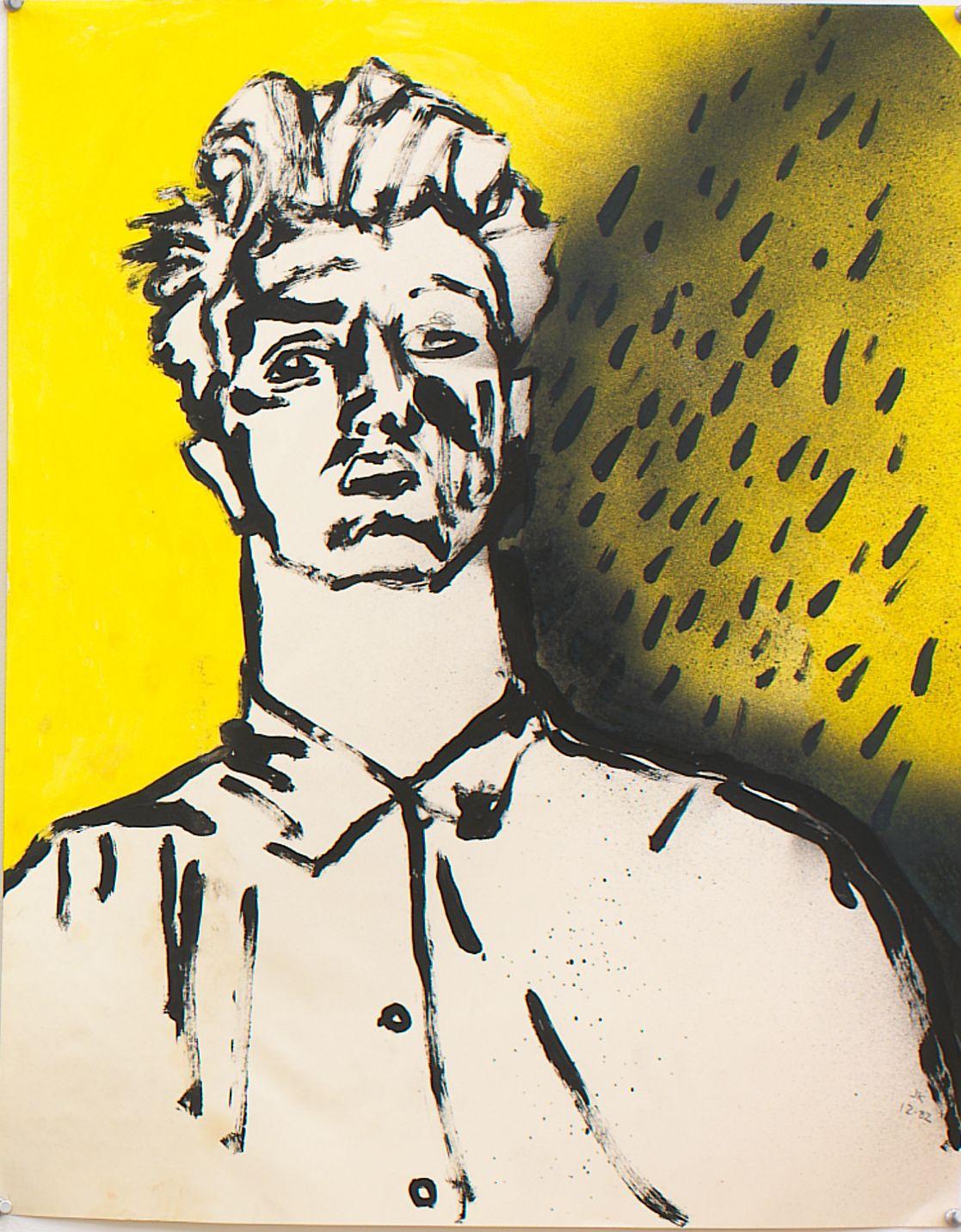 Self Portrait III, 1982, Spray paint, acrylic and ink on paper