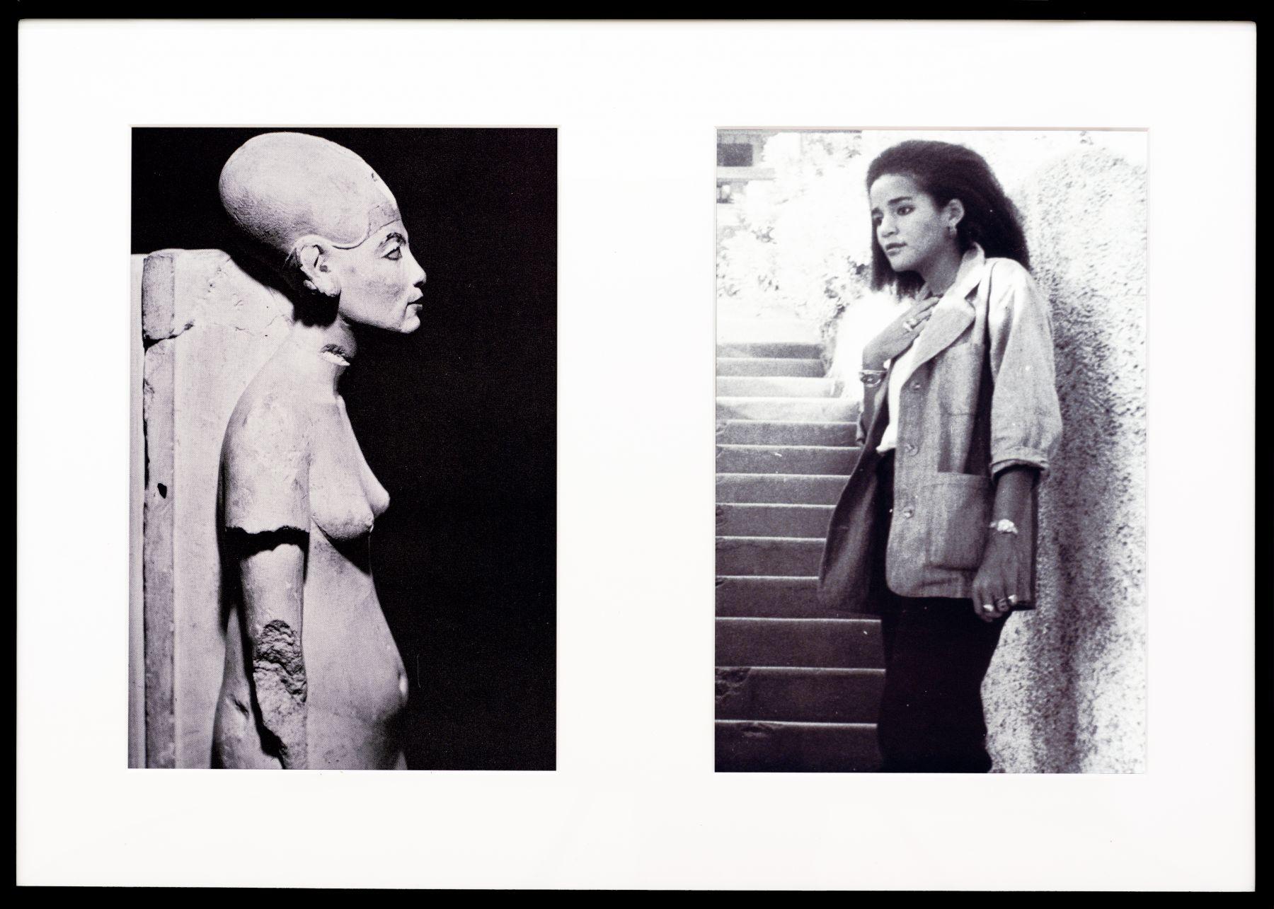 Lorraine O'Grady, Miscegenated Family Album (Cross Generational), L: Nefertiti, the last image; R: Devonia's youngest daughter, Kimberley, 1980/1994