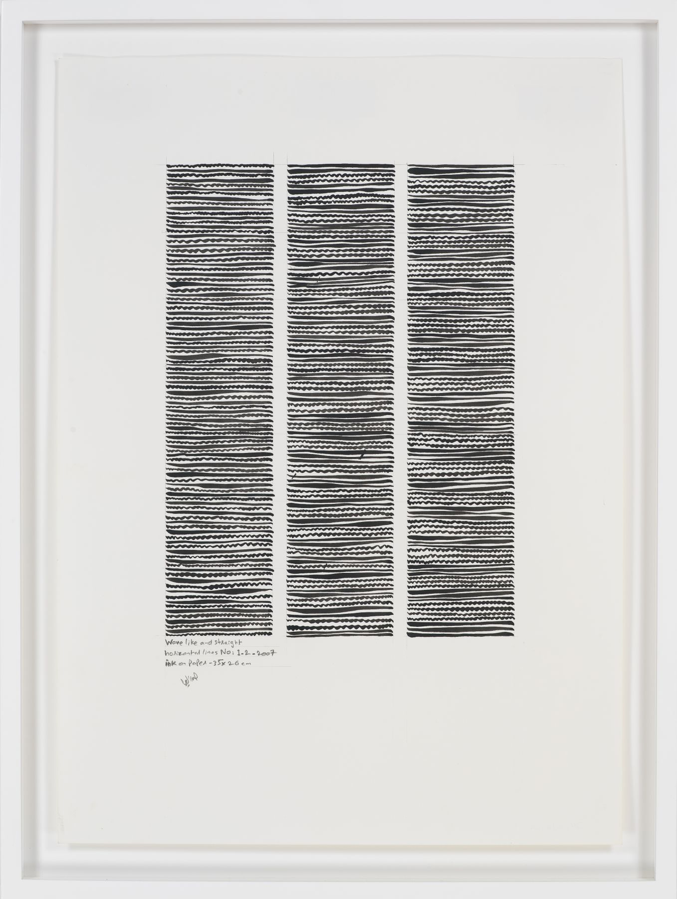 Wave-like and Straight Horizontal No. 1-2, 2007, Ink on paper