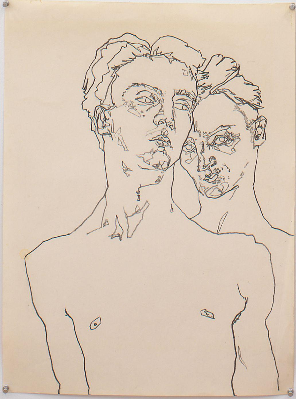 Double Self Portrait, 1978, Graphite on paper