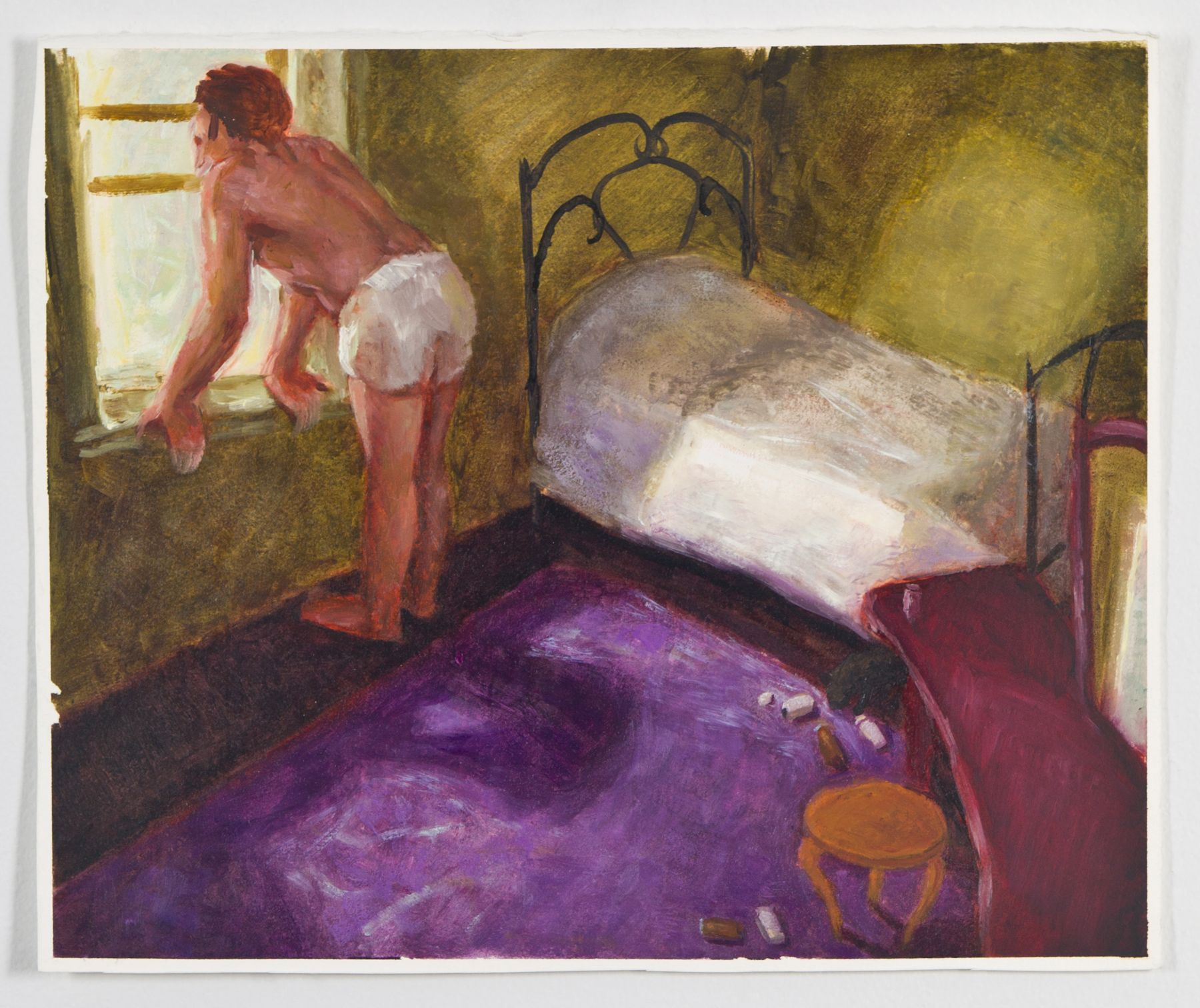 Purple Rug, 1990, Oil on gessoed paper