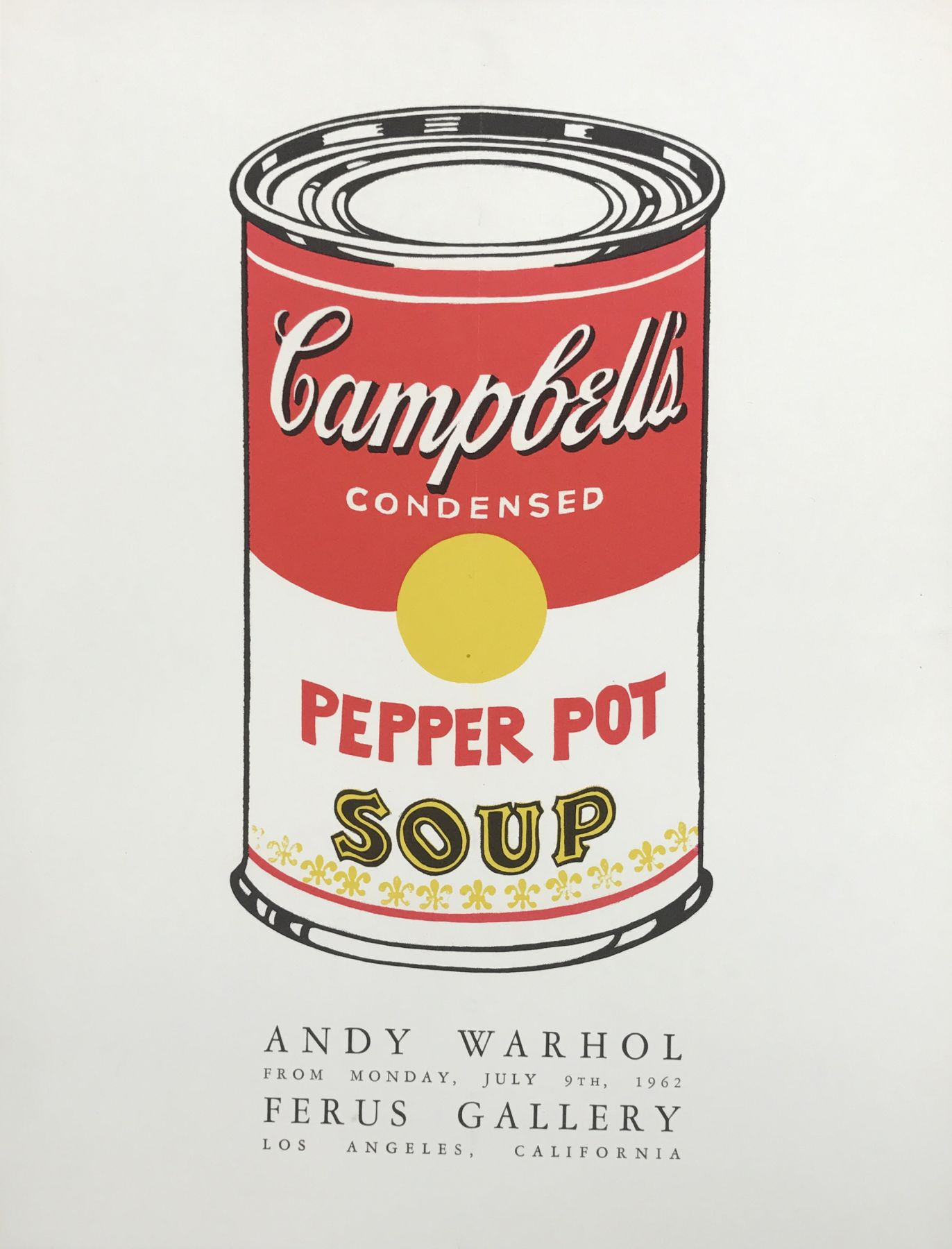 """ANDY WARHOL. """"Andy Warhol. Ferus Gallery"""". 1962. Image courtesy of Alden Projects™, New York."""