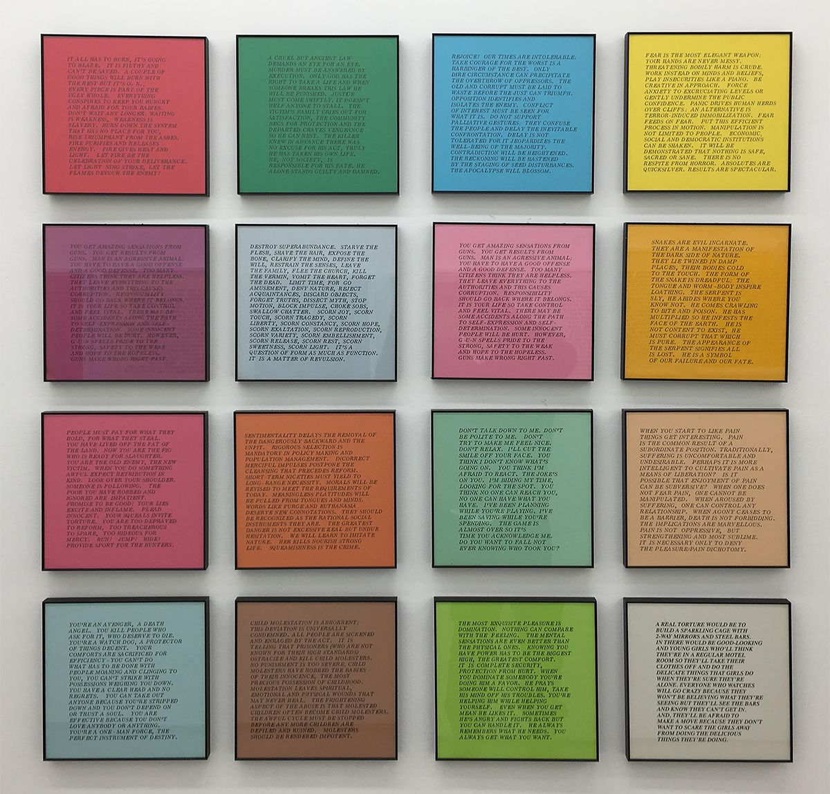 REJOICE! OUR TIMES ARE INTOLERABLE: Jenny Holzer's Street Posters, 1977-1982 at Alden Projects, 2017.Courtesy of Alden Projects.