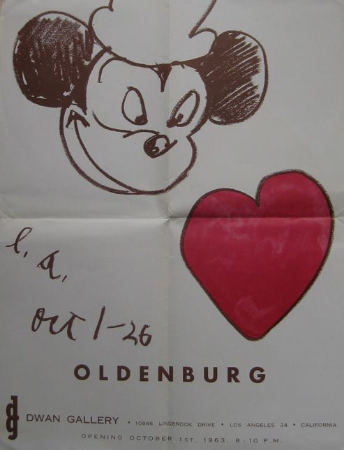 """CLAES OLDENBURG. """"Mickey (Dwan). 1963. Image courtesy of Alden Projects™, New York."""