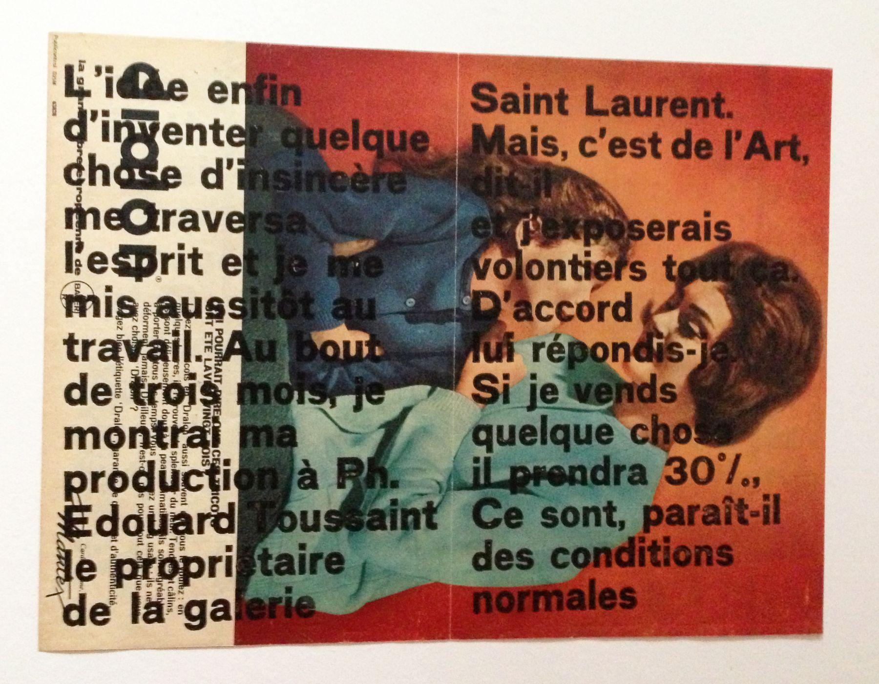 "MARCEL BROODTHAERS. ""Moi, Aussi..."" (Galerie Saint Laurent). 1964. Image courtesy of Alden Projects™, New York."