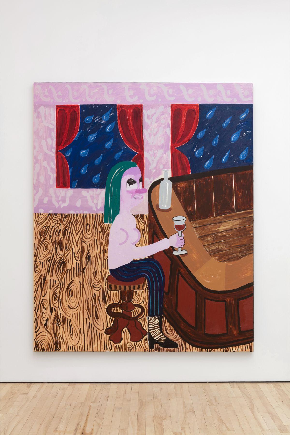 Nel Aerts The Village Idiot, 2017 Acrylic, oil, oil sticks, velvet and corduroy on canvas 220 x 180 cm (NA110)