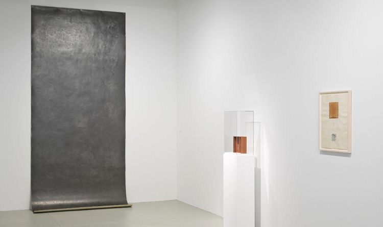 "Installation View of ""Michelle Stuart: Works from the 1960s to the Present"", Leslie Tonkonow Artworks + Projects, 2011: (left to right):  28 Moray Hill, 1974;  Earth Diptych, 1968;  Hyde Park Site Map, 1974."