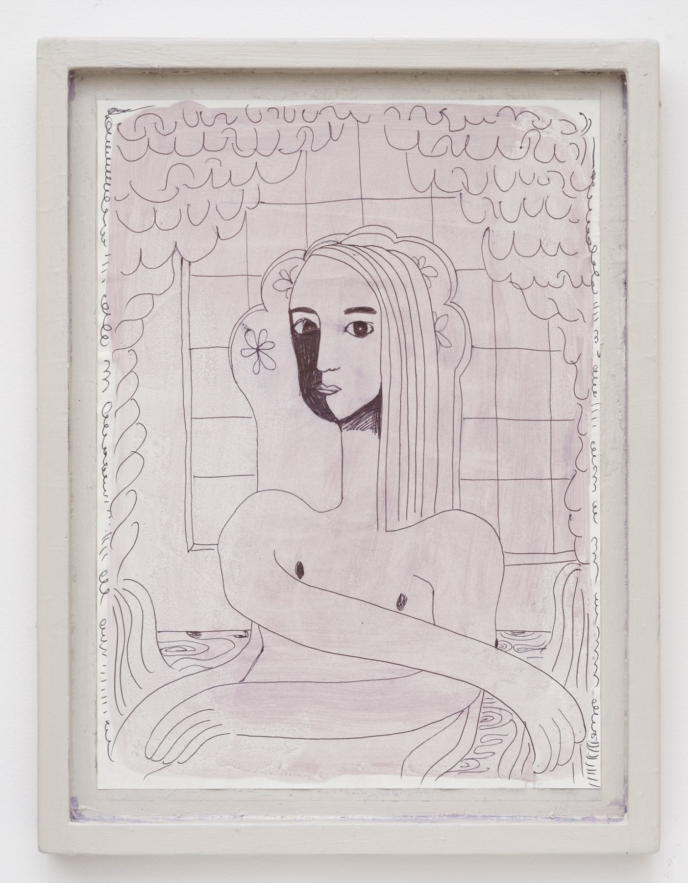 Nel Aerts Untitled, 2015-2016 Pen on paper, acrylic, artist made frame 48 x 36.5 cm (NA68)