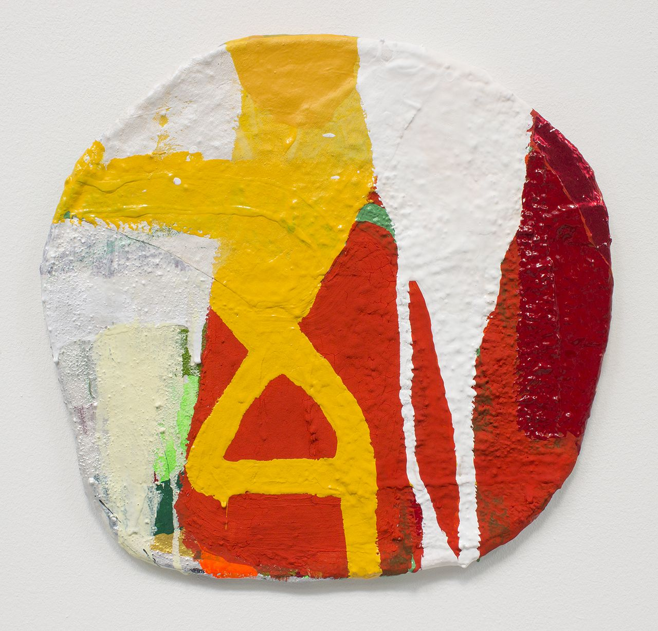 James Benjamin Franklin, Untitled, 2019,Acrylic, paper, fabric, apoxie sculpt on sealed plaster rigid wrap,
