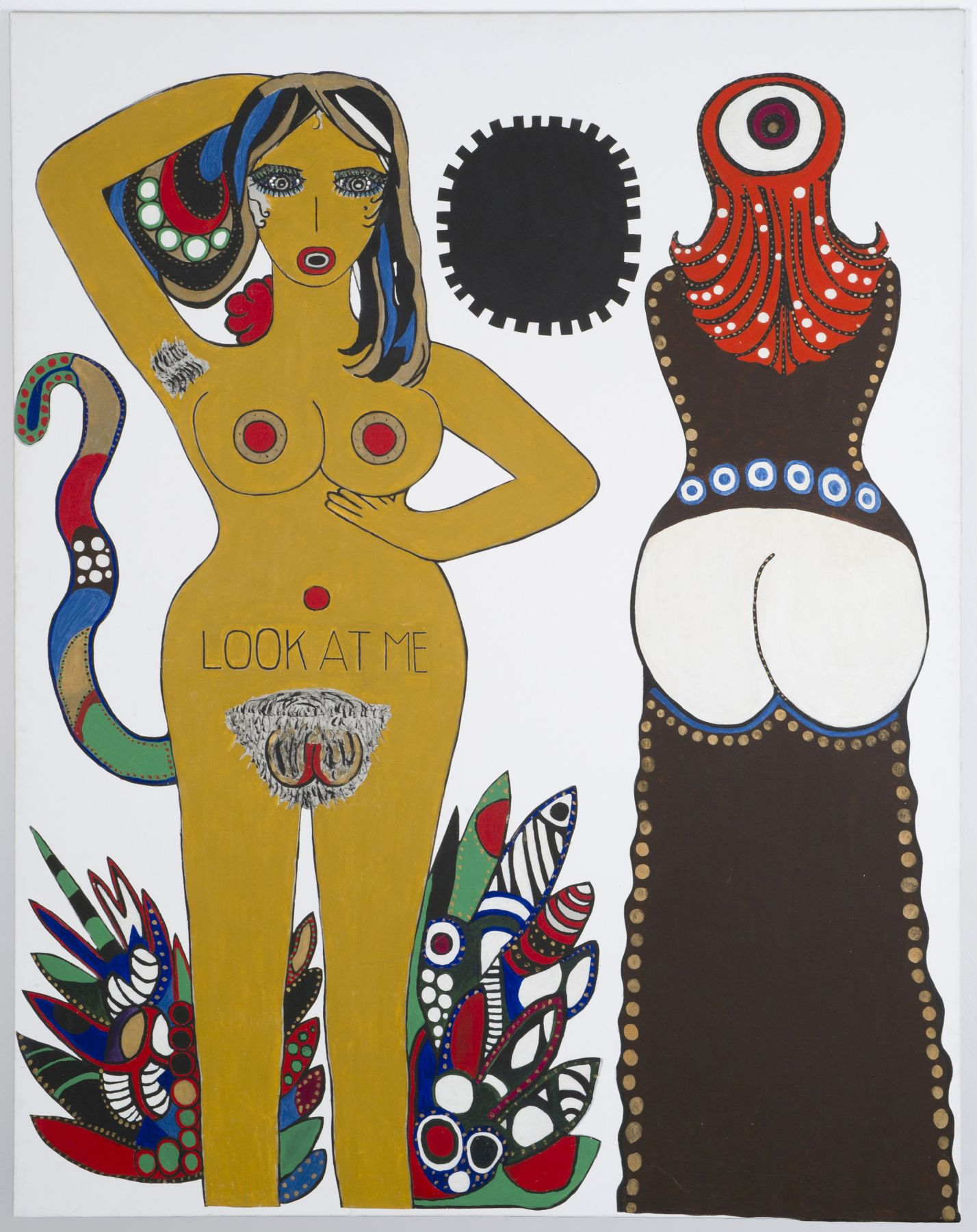 "Dorothy Iannone, ""Look at Me"", 1970/71Collage and acrylic on canvas, 190 x 150 cm© Photo Jochen Littkemann, BerlinCourtesy of the artist and Air de Paris, Paris"