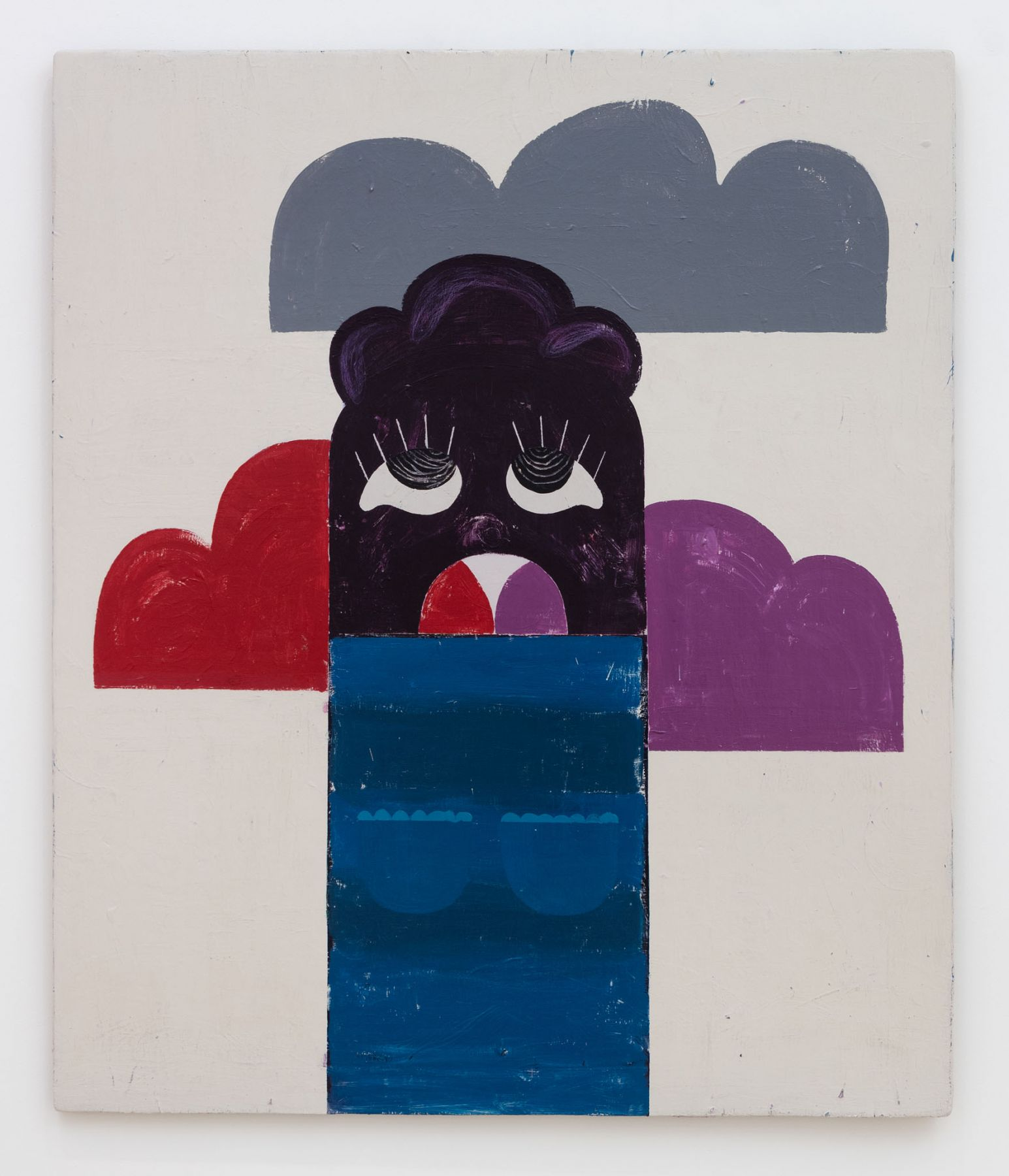 Nel Aerts The cloud guzzler (De wolken vreter), 2016 Acrylic and coloured pencil on wood 144.5 x 122 cm (NA101)