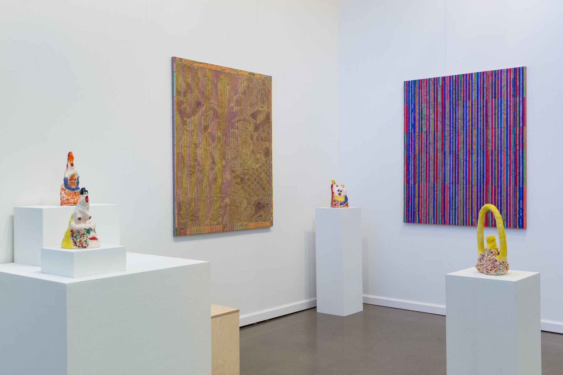 Chip Hughes and Alice Mackler as exhibited by Kerry Schuss at Independent New York 2017