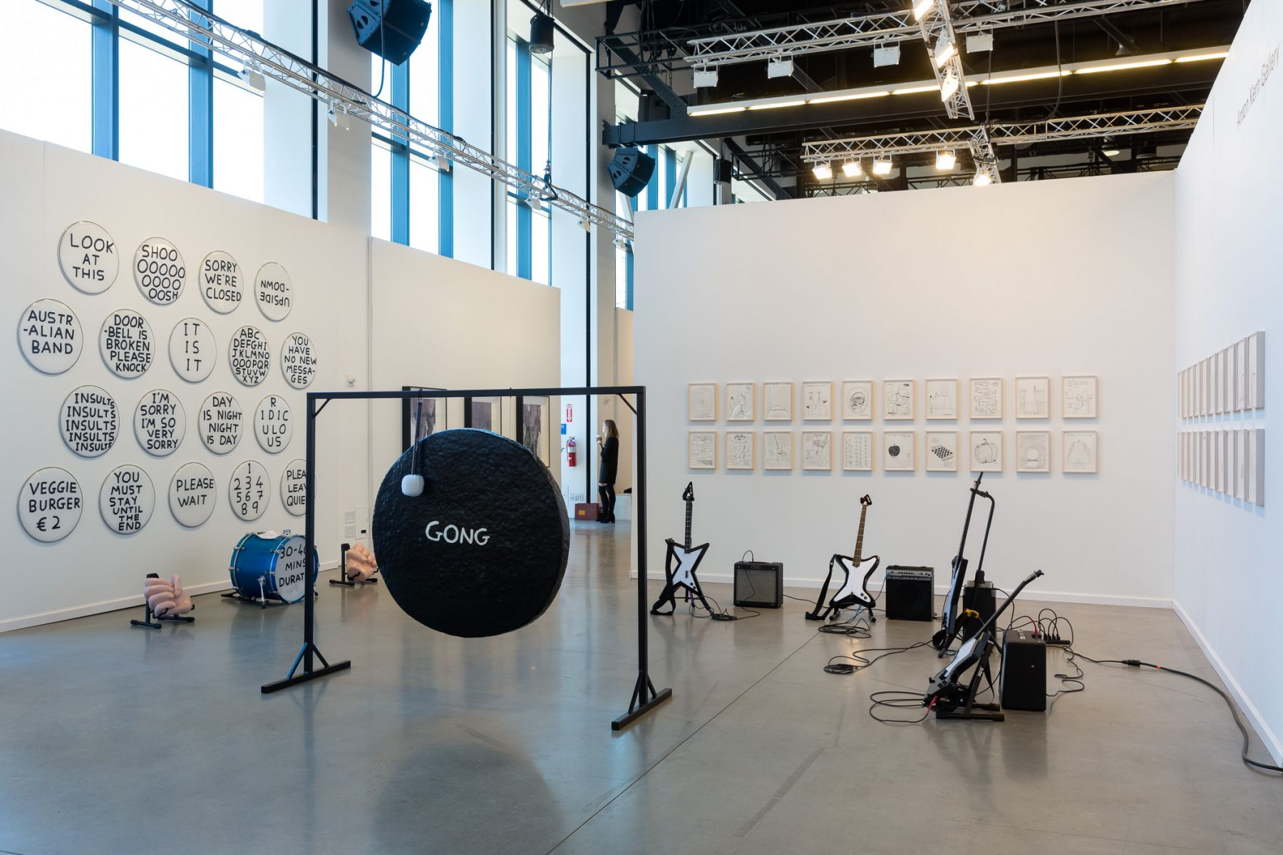 David Shrigley solo presentation and interactive installation with Anton Kern Gallery at the eighth edition of Independent New York in 2017. Photographer: Etienne Frossard.