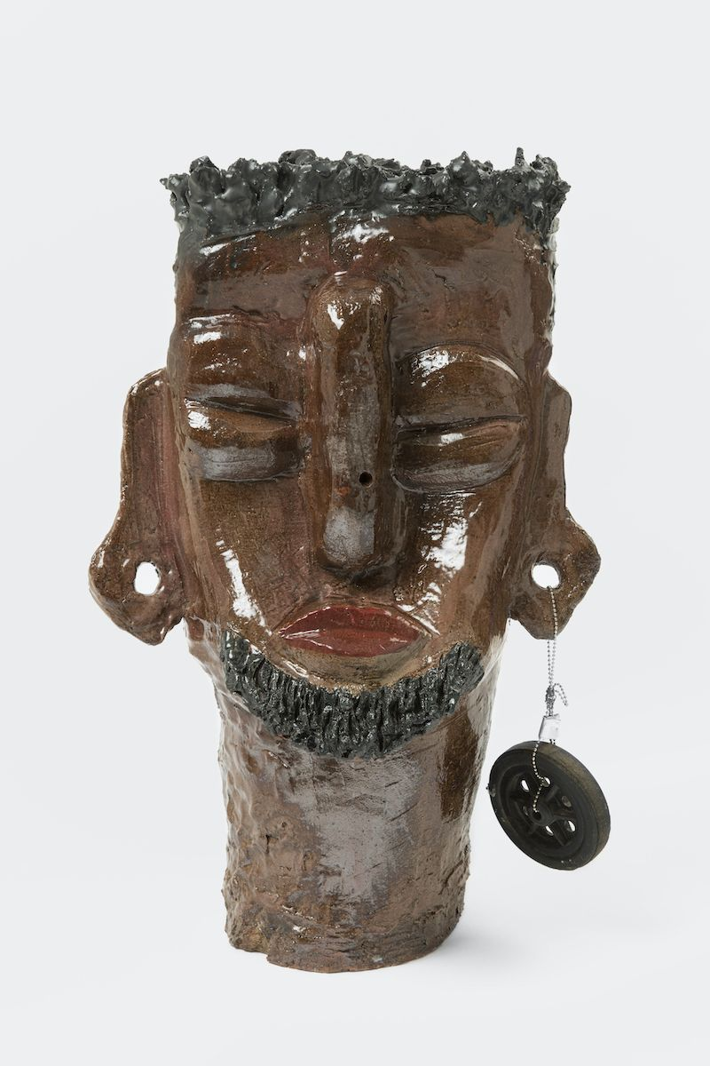 "Leilah Babirye ""Prince Jjunju' [View 1], 2020, Glazed ceramic and found object, 24 x 16 x 12 in, Courtesy Gordon Robichaux, NY_Photo Paul Salveson"