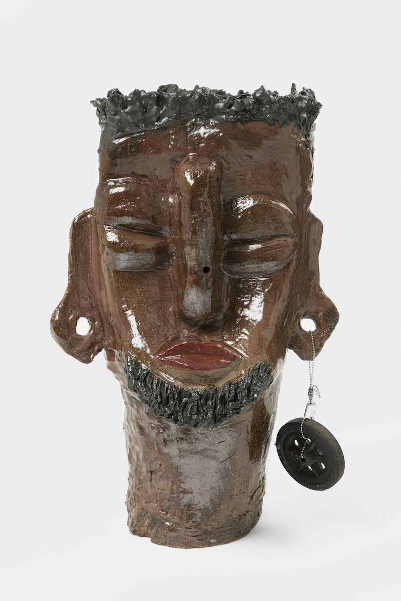 """Leilah Babirye """"Prince Jjunju' [View 1], 2020, Glazed ceramic and found object, 24 x 16 x 12 in, Courtesy Gordon Robichaux, NY_Photo Paul Salveson"""