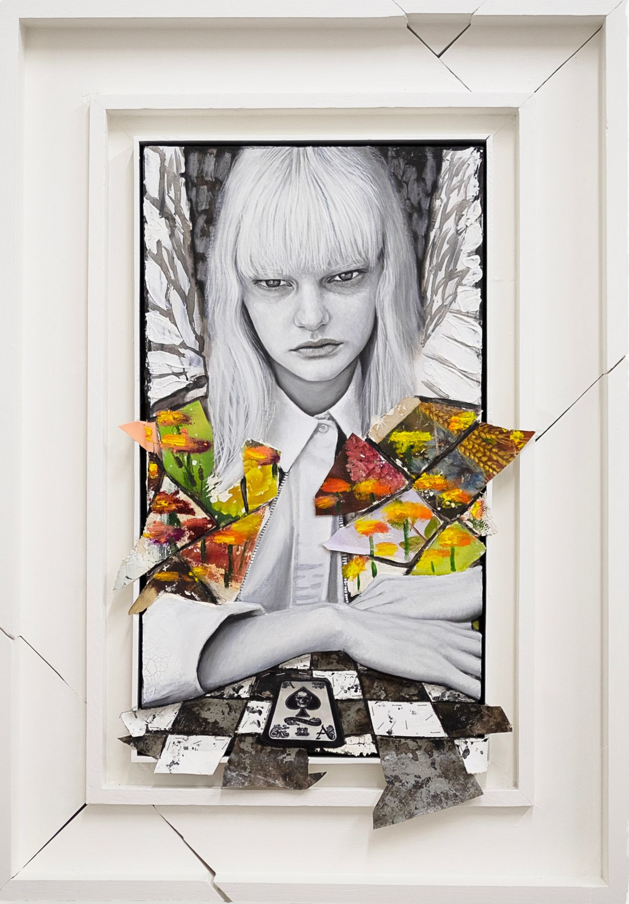 Angel Alice, 2019, Oil and acrylic on panel, found paintings in artist frame
