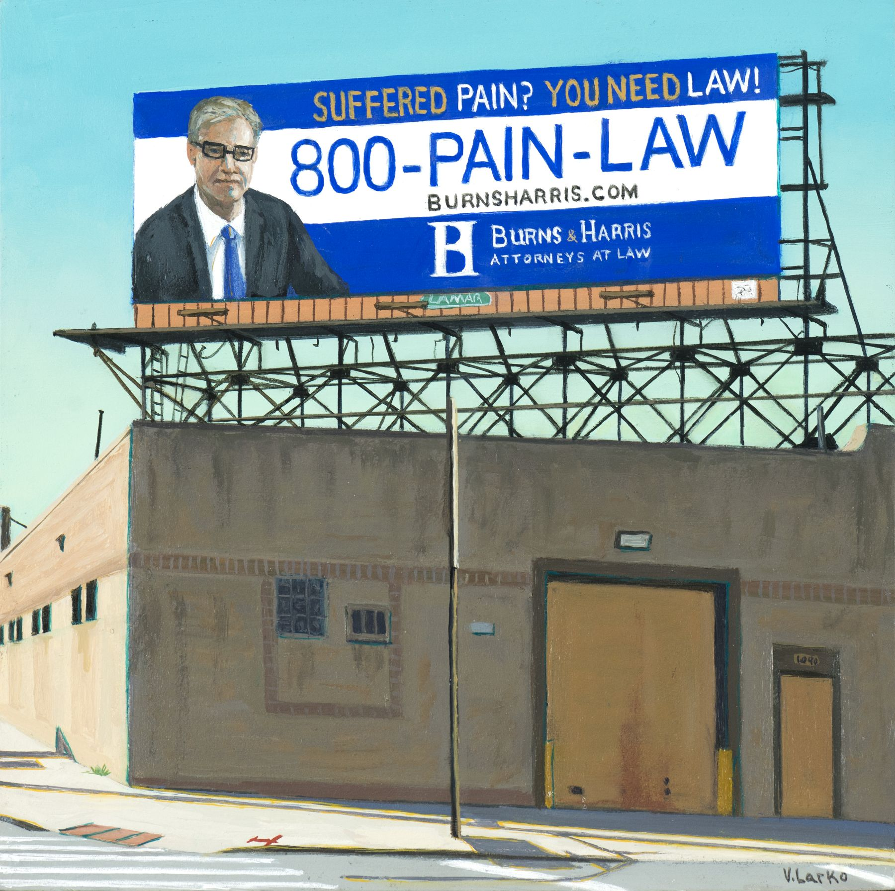 Valeri Larko painting titled Sign of the Times XII (Pain Law), 2019, oil on panel, 10 x 10 inches imagery urban landscape featuring blighted brown building and billboard advertising Burns and Harris injury attorneys