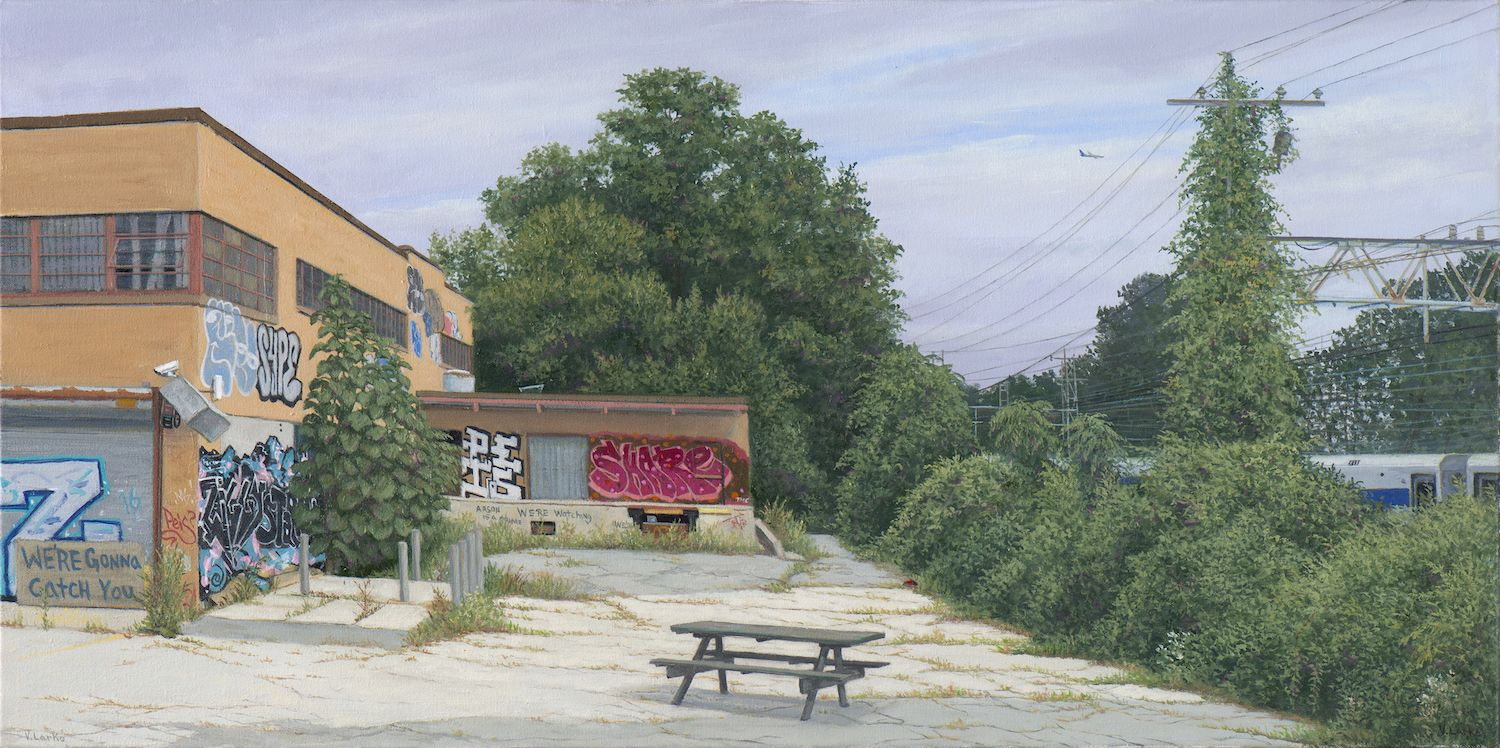 Valeri Larko painting titled We're Gonna Catch You (study), 2018, oil on canvas, 18 x 36 inches imagery urban landscape of abandoned building with graffiti and picnic table