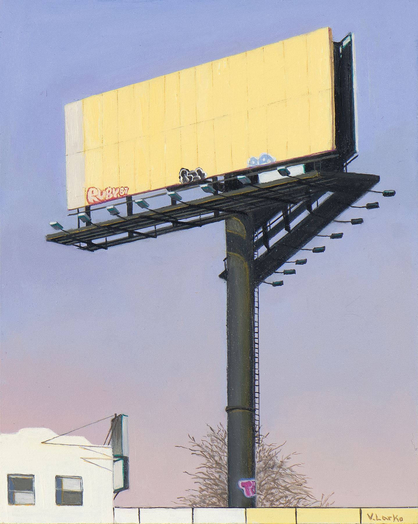 Valeri Larko painting titled Sign of the Times IX (Ruby87), 2019, oil on panel, 10 x 8 inches imagery urban landscape featuring blank yellow billboard with graffiti