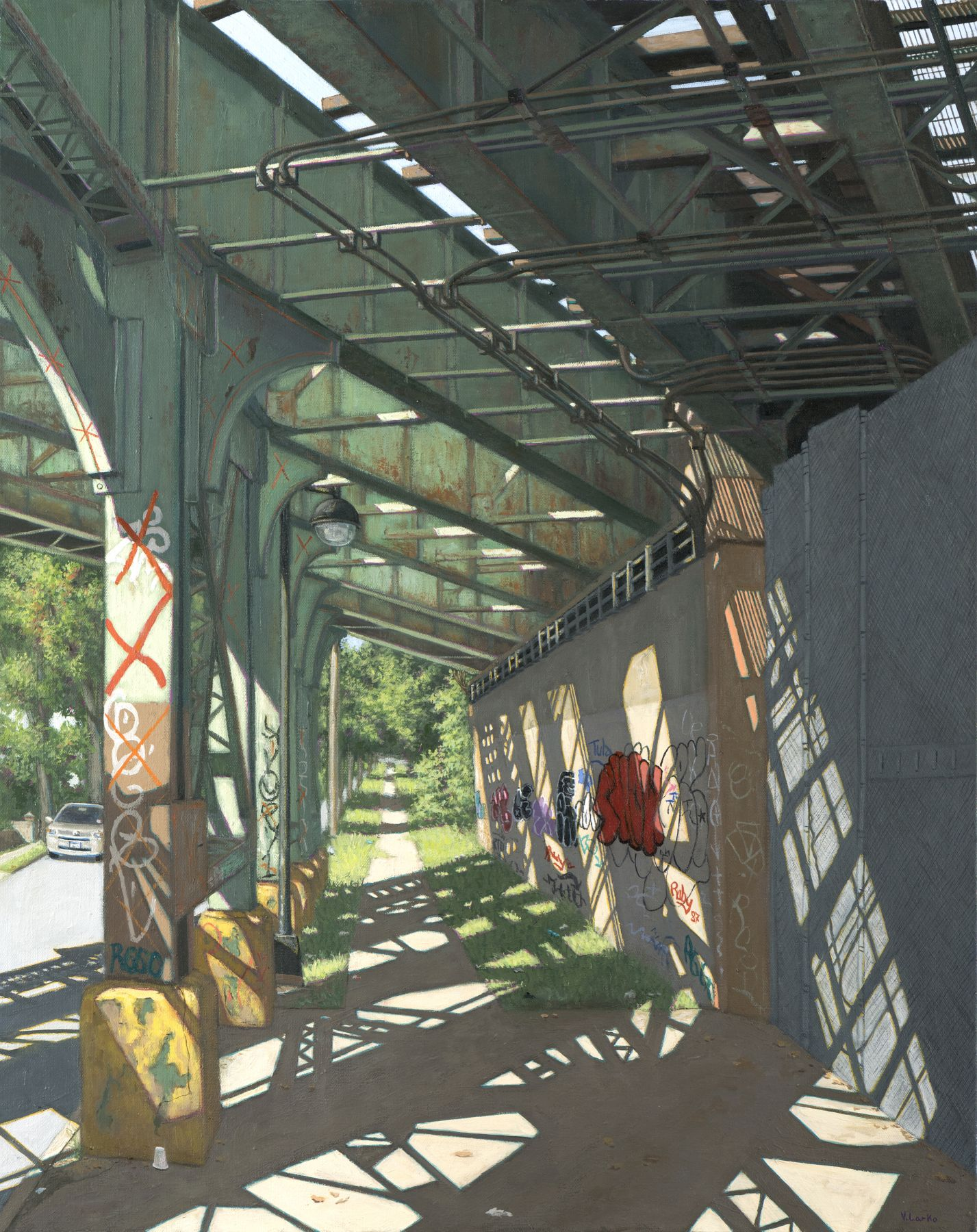 Valeri Larko painting titled Secor Ave Train Trestle, Bronx, 2019, oil on canvas, 30 x 24 inches imagery view of Secor Ave Train Trestle and sidewalk, Bronx