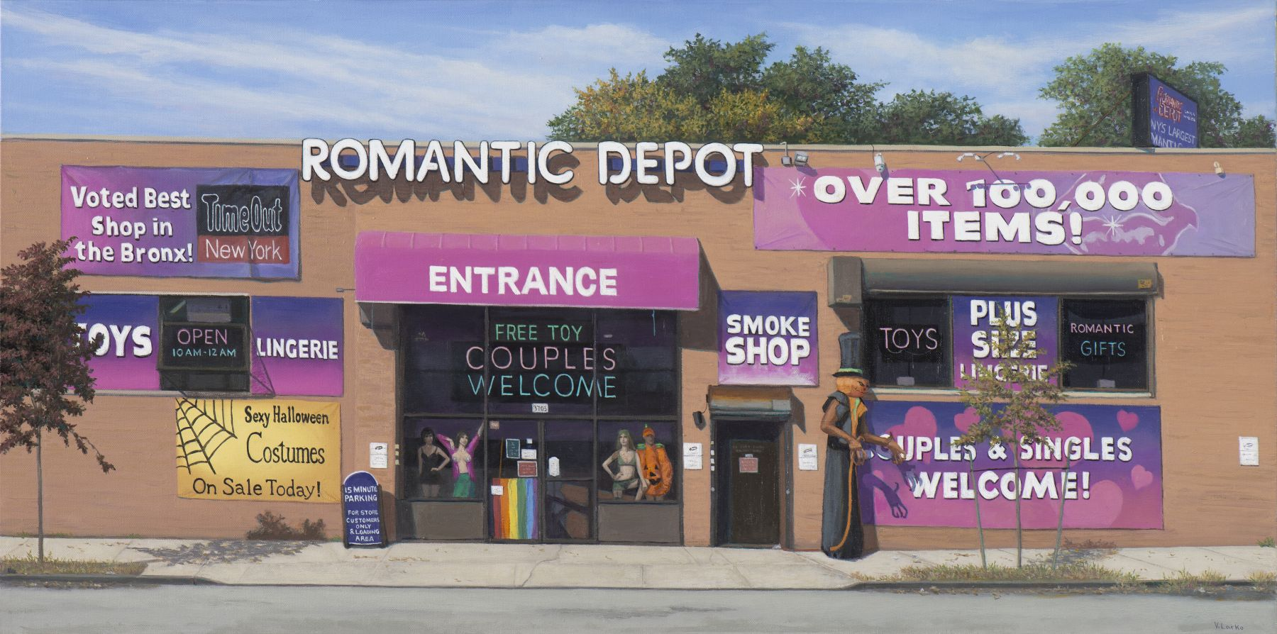Valeri Larko painting titled Halloween at the Romantic Depot, Bronx, 2018, oil on canvas, 18 x 36 inches imagery ubran landscape featuring one story retail outlet Romantic Depot