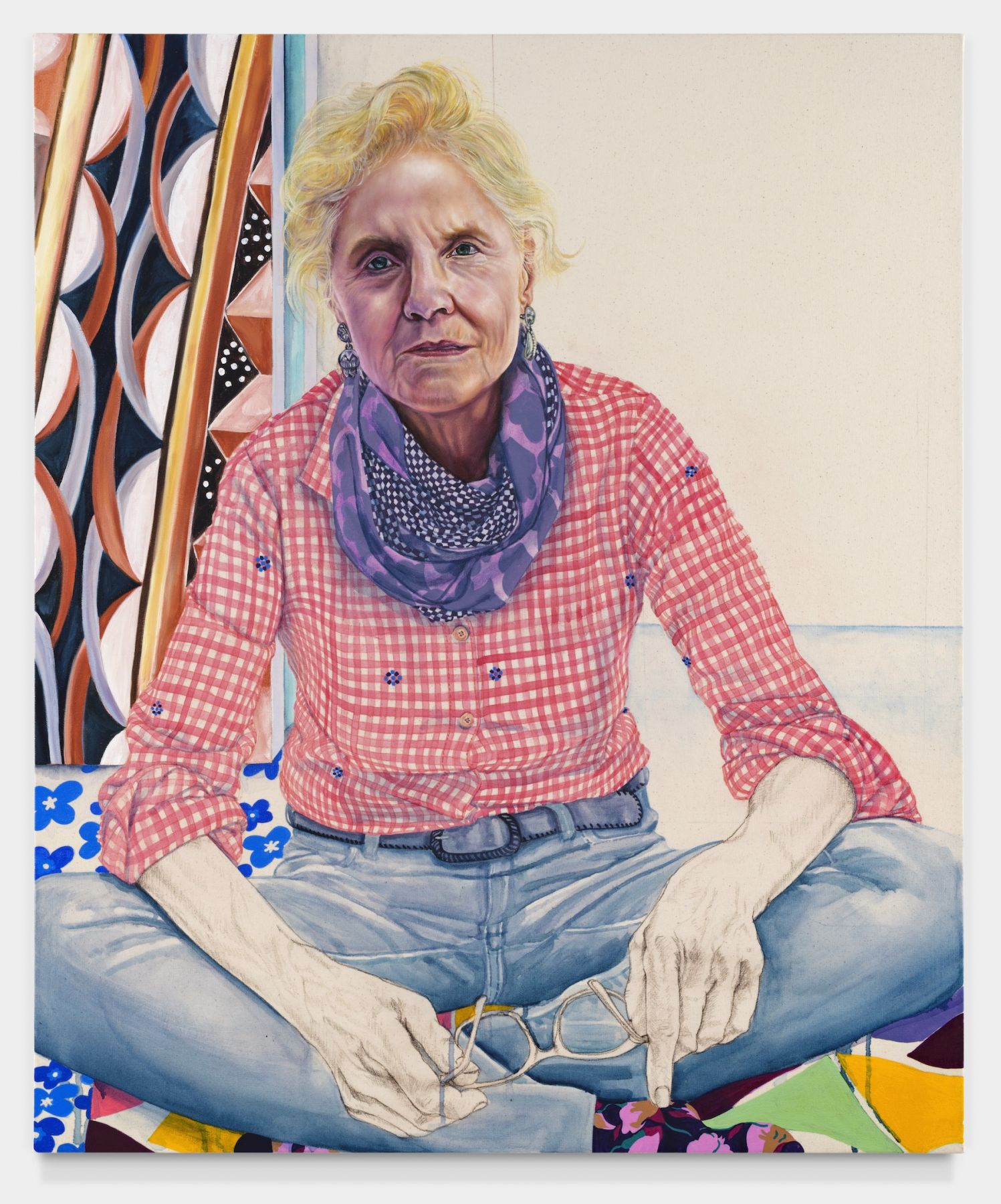 Susan's Gingham, 2019, Oil, colored pencil, acrylic ink on canvas