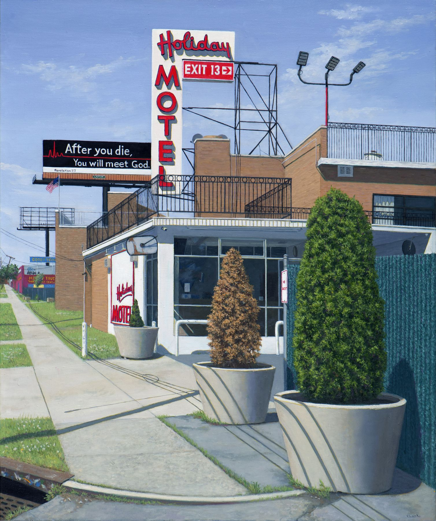 Valeri Larko painting titled Holiday Motel, Bronx, 2018, oil on linen, 36 x 30 inches imagery ubran landscape one story dated hotel