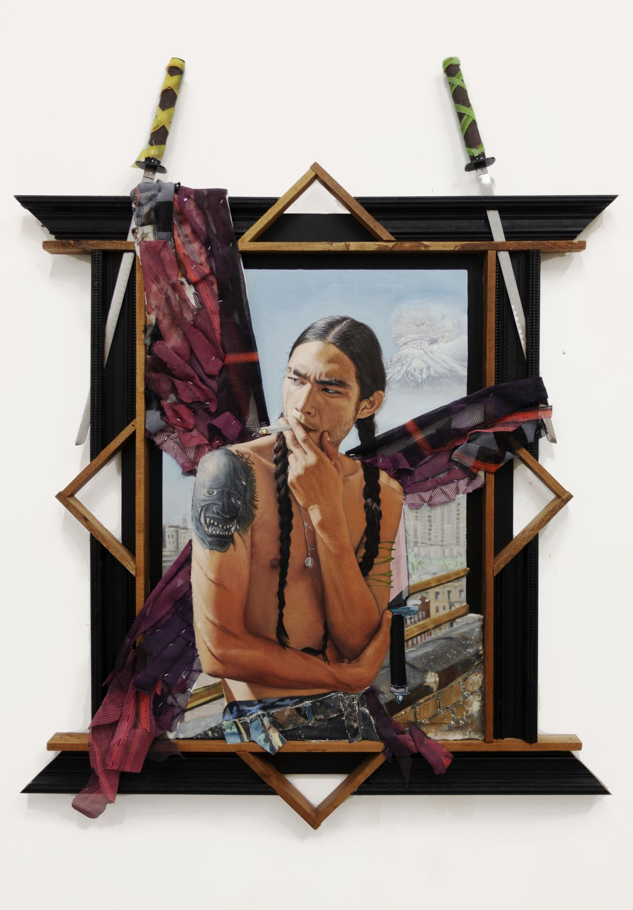 Faerie GodFather, 2019,Oil andacrylic on panel, canvas, found paintings, construction mesh, frames, Samurai swords in artist frame