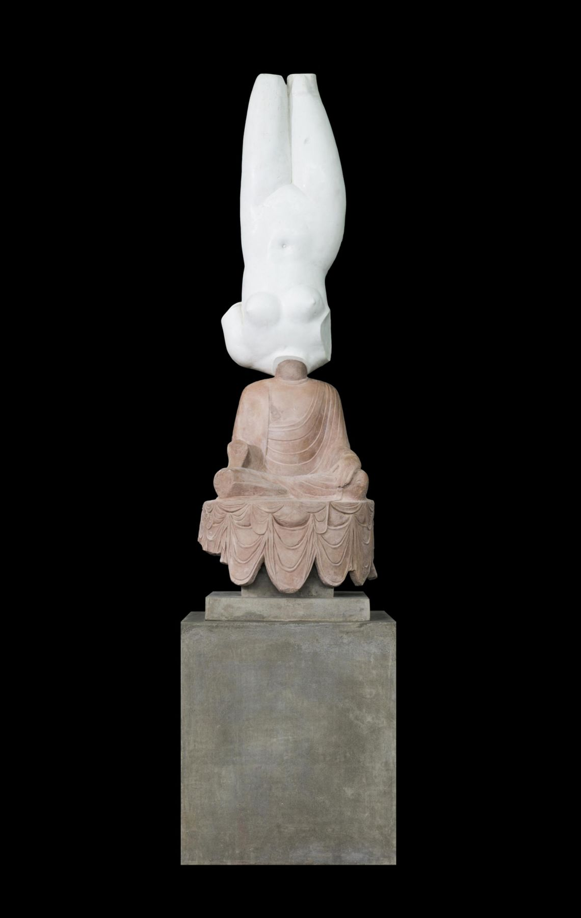 , XU ZHEN Eternity-Aphrodite of Knidos, Tang Dynasty Sitting Buddha, 2014 Glass fiber-reinforced concrete, marble grains, sandstone grains, mineral pigments, steel 139.7 x 35.8 x 35.8 inches (355 x 91 x 91 cm) Edition of 3 Image courtesy of James Cohan Gallery, New York / Shanghai