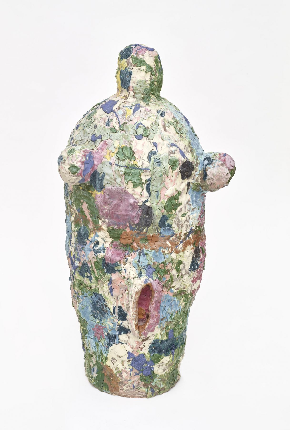 , Rainbow Femme, c.1987, Stoneware and colored slips, 44 1/2 x 21 1/4 x 17 1/2 in.