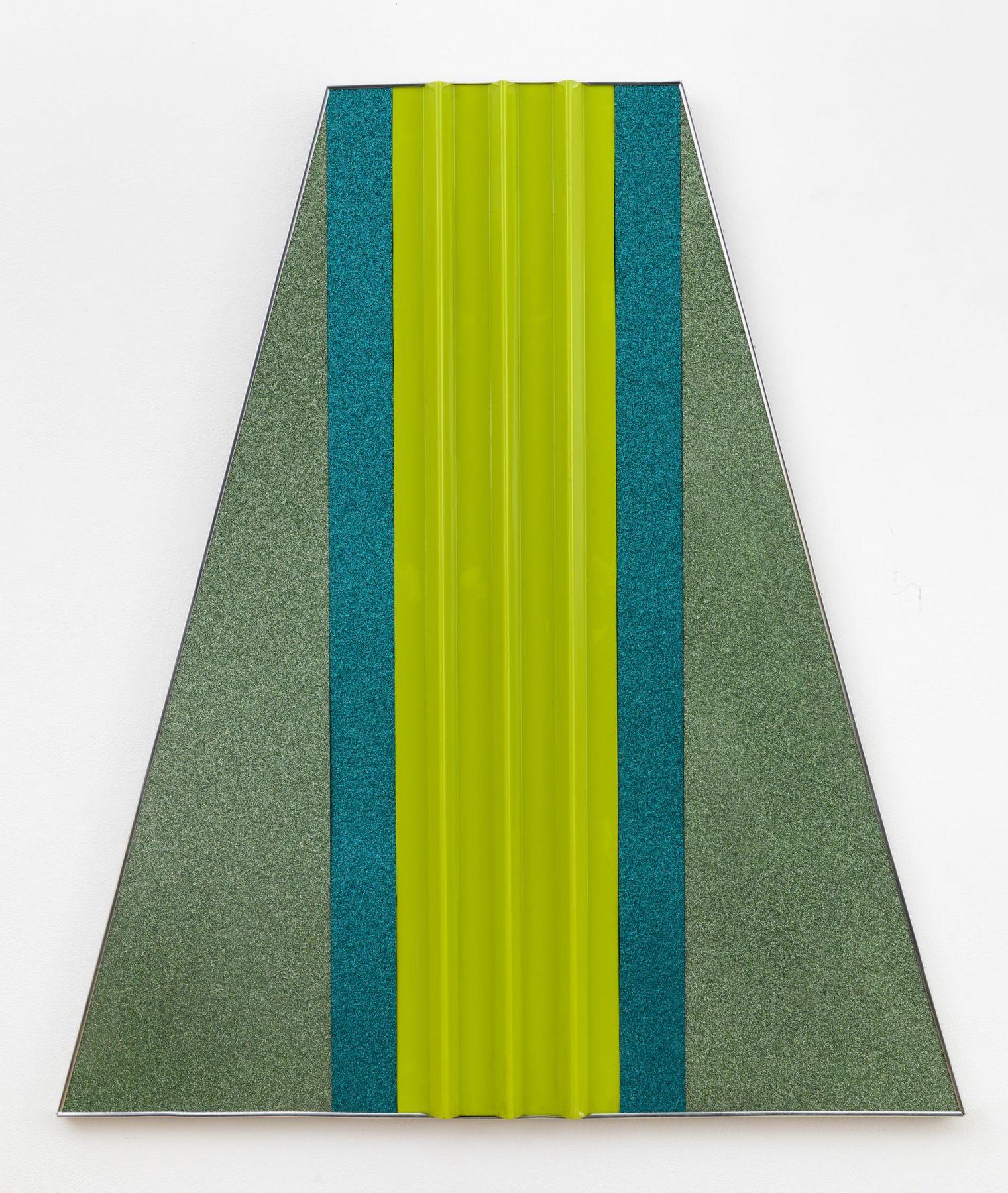 , ROBERT SMITHSON,Fling, 1965,Green plastic panels on wood, aluminum stripping, 48 x 42 in.