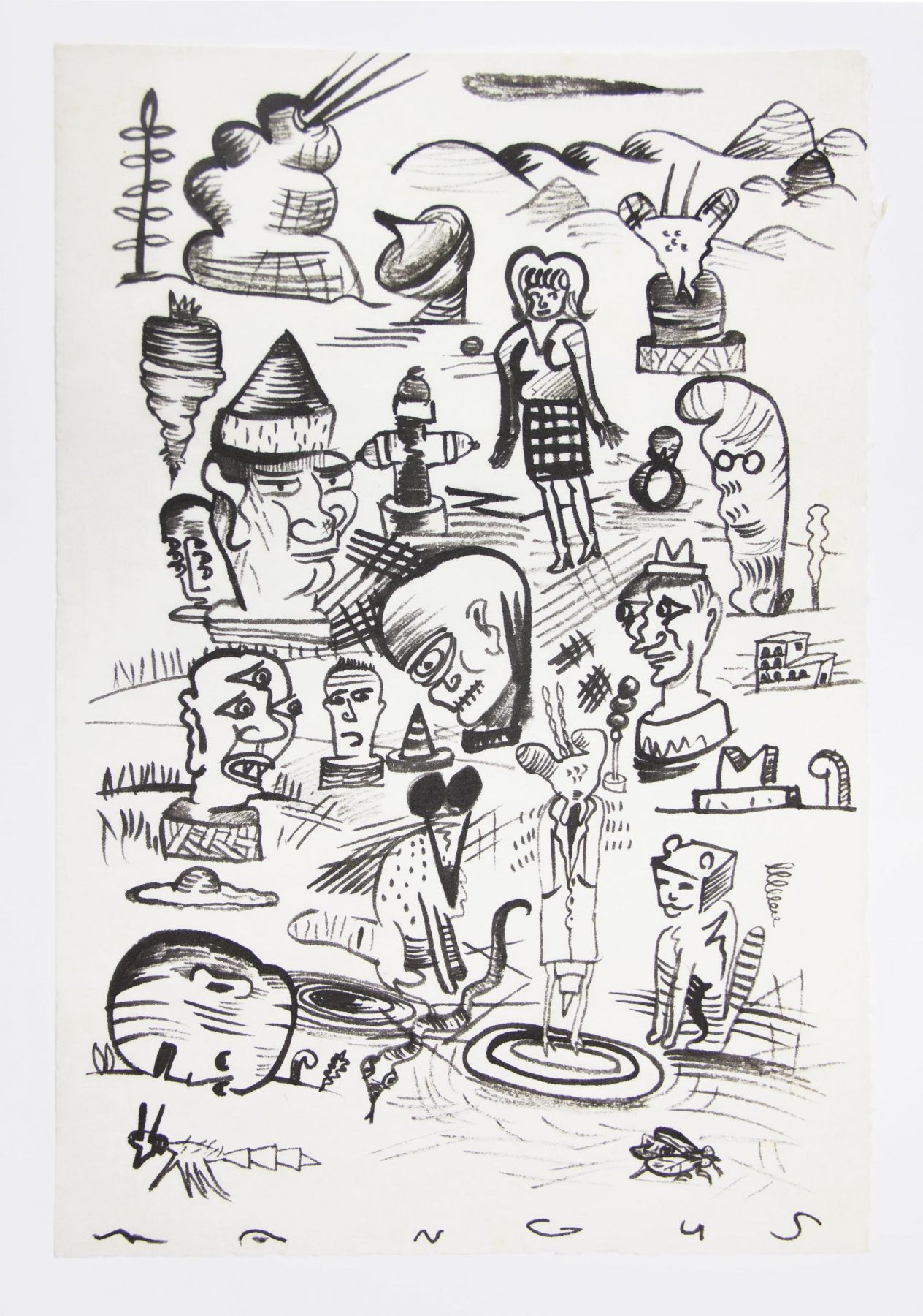 , Everyone Was There, 1988, Ink on mulberry paper, 17 x 12 1/2 in.