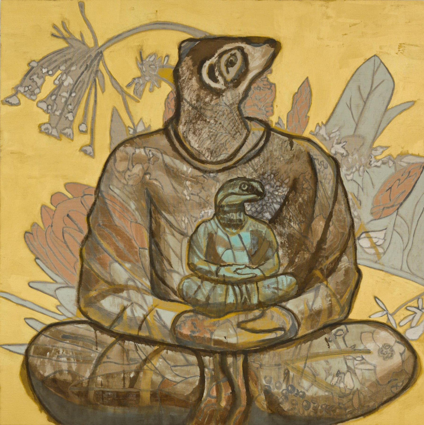 , FRANCESCO CLEMENTE Dilemma II, 2013 Pigment on linen 72 x 72 in. (182.9 x 182.9 cm)