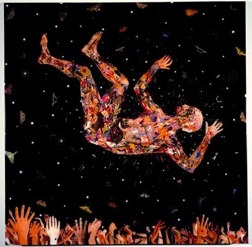 FRED TOMASELLI, Expecting to Fly, 2002, photocollage, leaves, acrylic, gouache, resin on wood panel