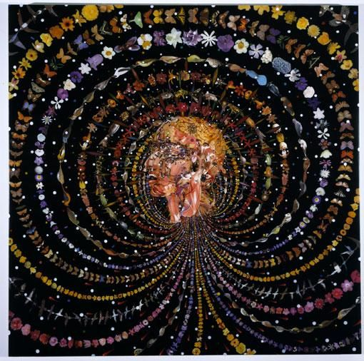 FRED TOMASELLI, Breathing Head, 2002,  Leaves, photocollage, acrylic, gouache, resin on wood panel