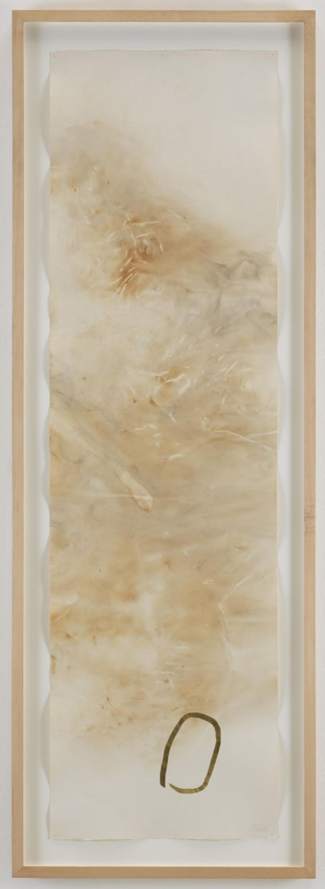 , JOHN CAGE River Rocks and Smoke, 4/13/90, #3, 1990 Watercolor on Arches cold press paper prepared with fire and smoke 52.5 x 15 inches (133.3 x 38.1 cm) Courtesy of Margarete Roeder Gallery and the John Cage Trust