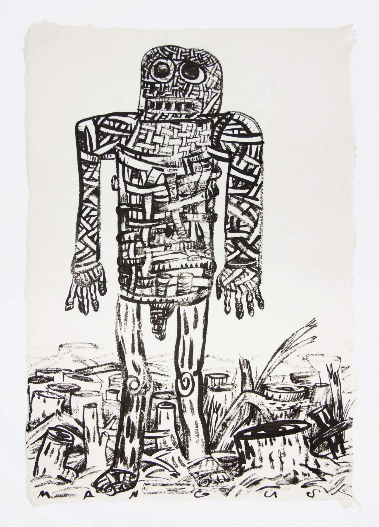 , Basket Armor, 1988, Ink on mulberry paper, 17 x 12 1/2 in.