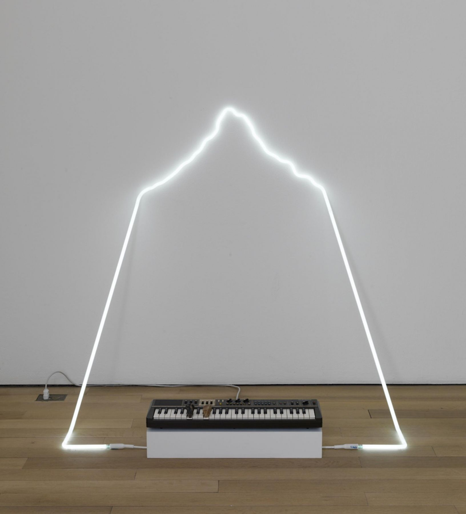 , RICHARD T. WALKER in defiance of being here #3, 2014 Neon, Casiotone MT-68 keyboard, rocks 29 x 66 x 71 in. (73.7 x 167.6 x 180.3 cm)