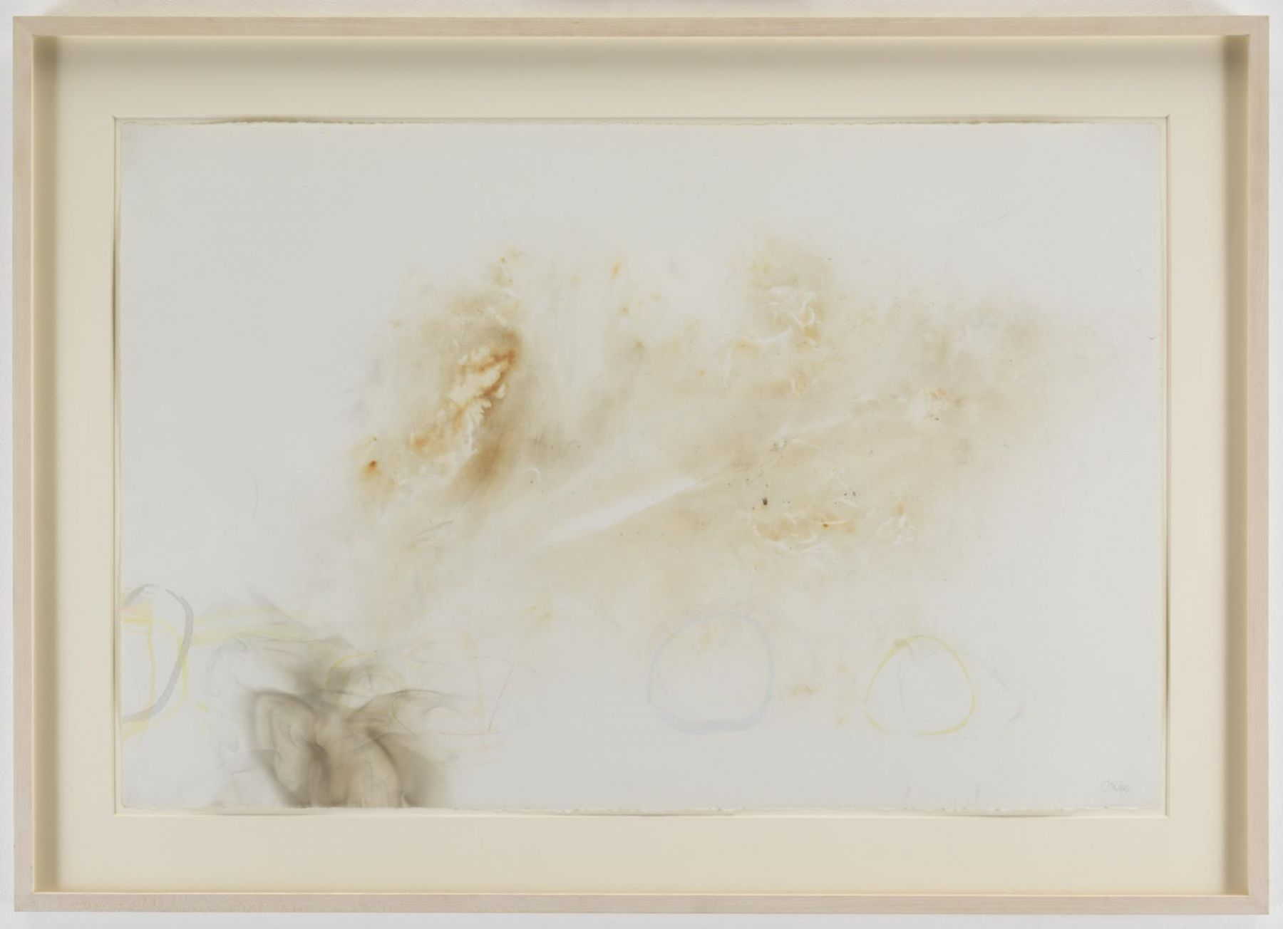 , JOHN CAGE River Rocks and Smoke, 4/12/90, #11, 1990 Watercolor on Waterford cold press 260 lb. paper prepared with fire and smoke 26.5 x 39.5 inches (67.3 x 100.3 cm) Courtesy of Margarete Roeder Gallery and the John Cage Trust
