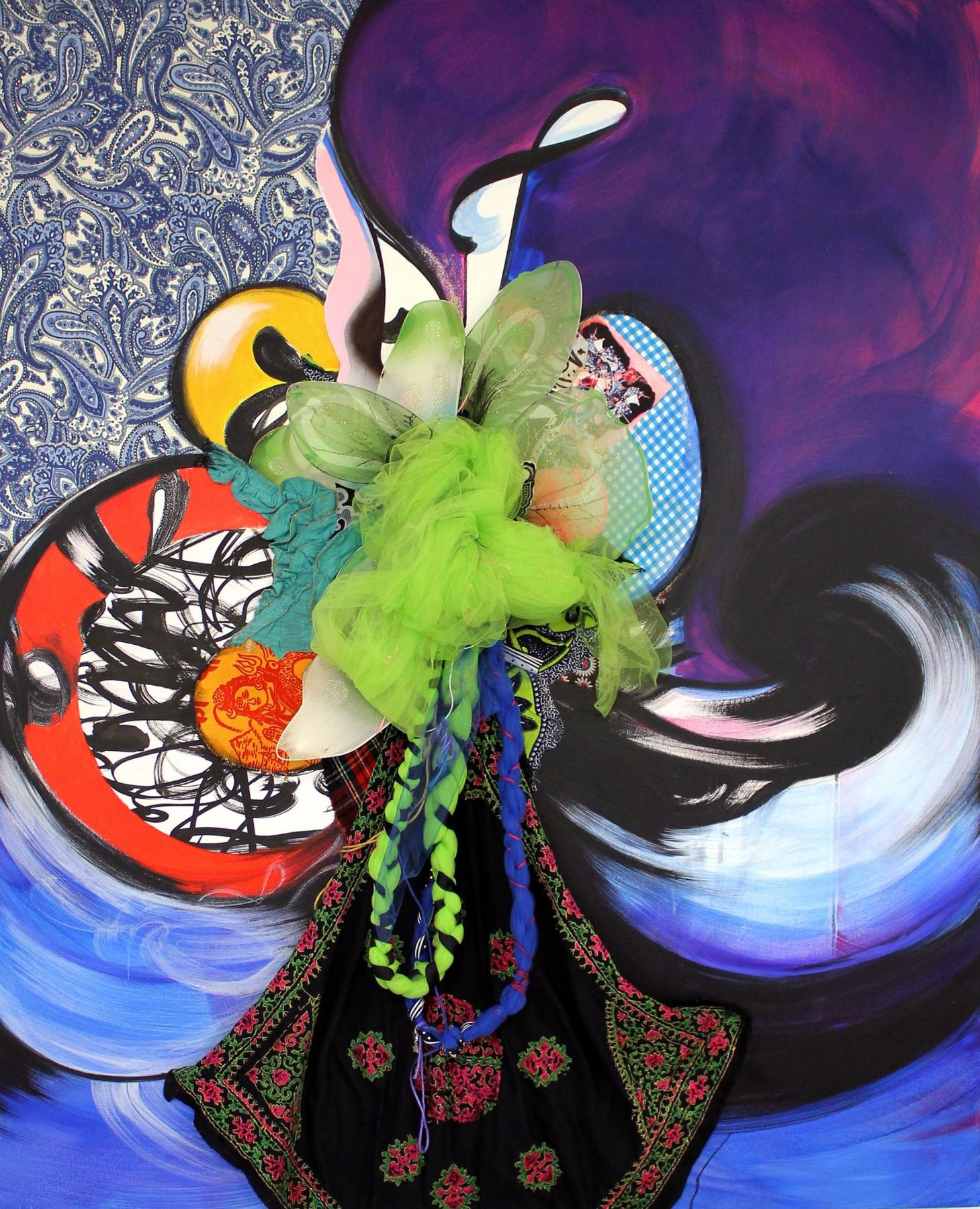 , SHINIQUE SMITHShield Maiden,2014Acrylic, fabric and collage on canvas over wood panel
