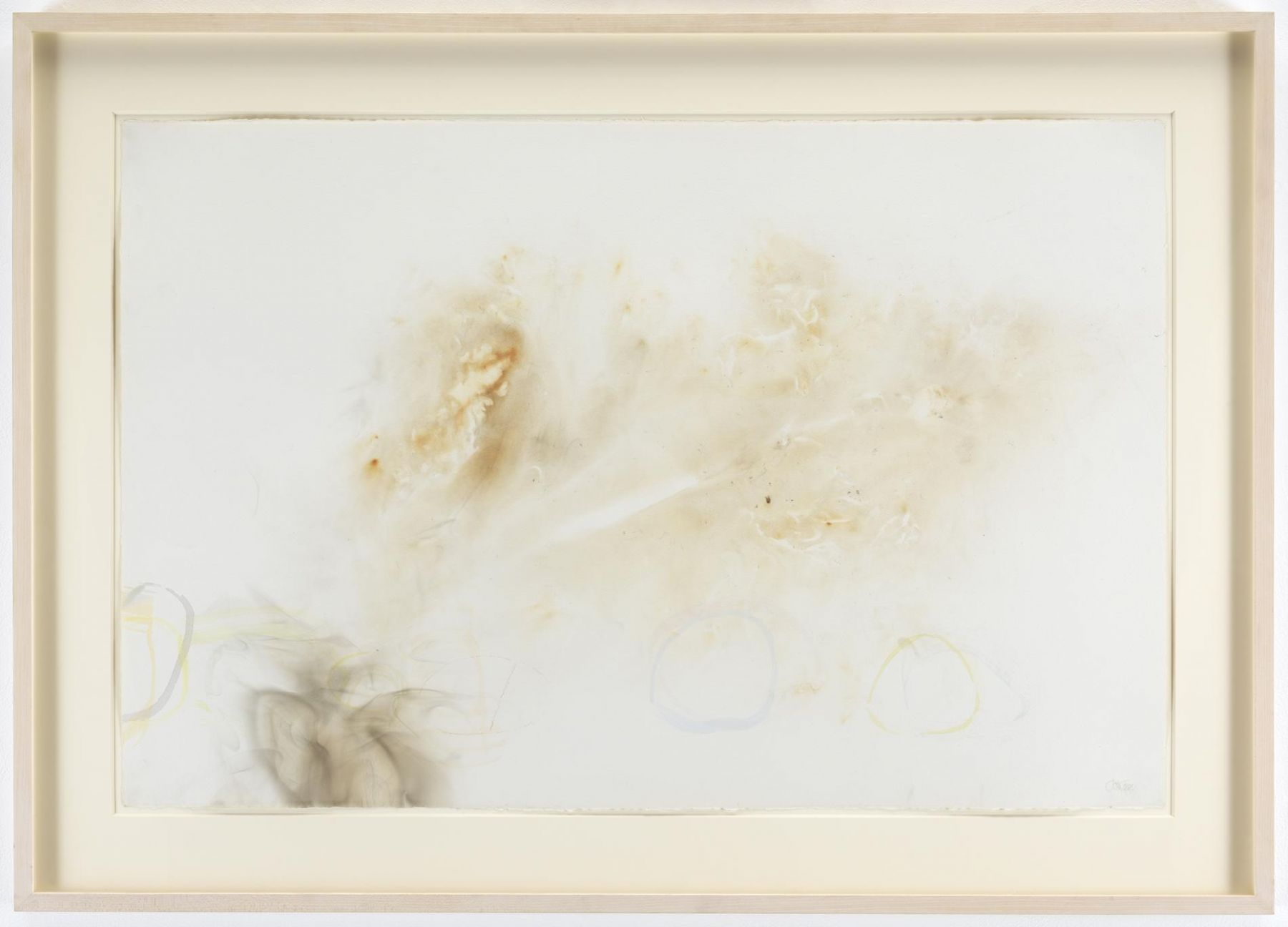 , JOHN CAGERiver Rocks and Smoke, 4/12/90, #11,1990Watercolor on Waterford cold press 260 lb. paper prepared with fire and smoke26 1/2 x 39 1/2 in. (67.3 x 100.3 cm)