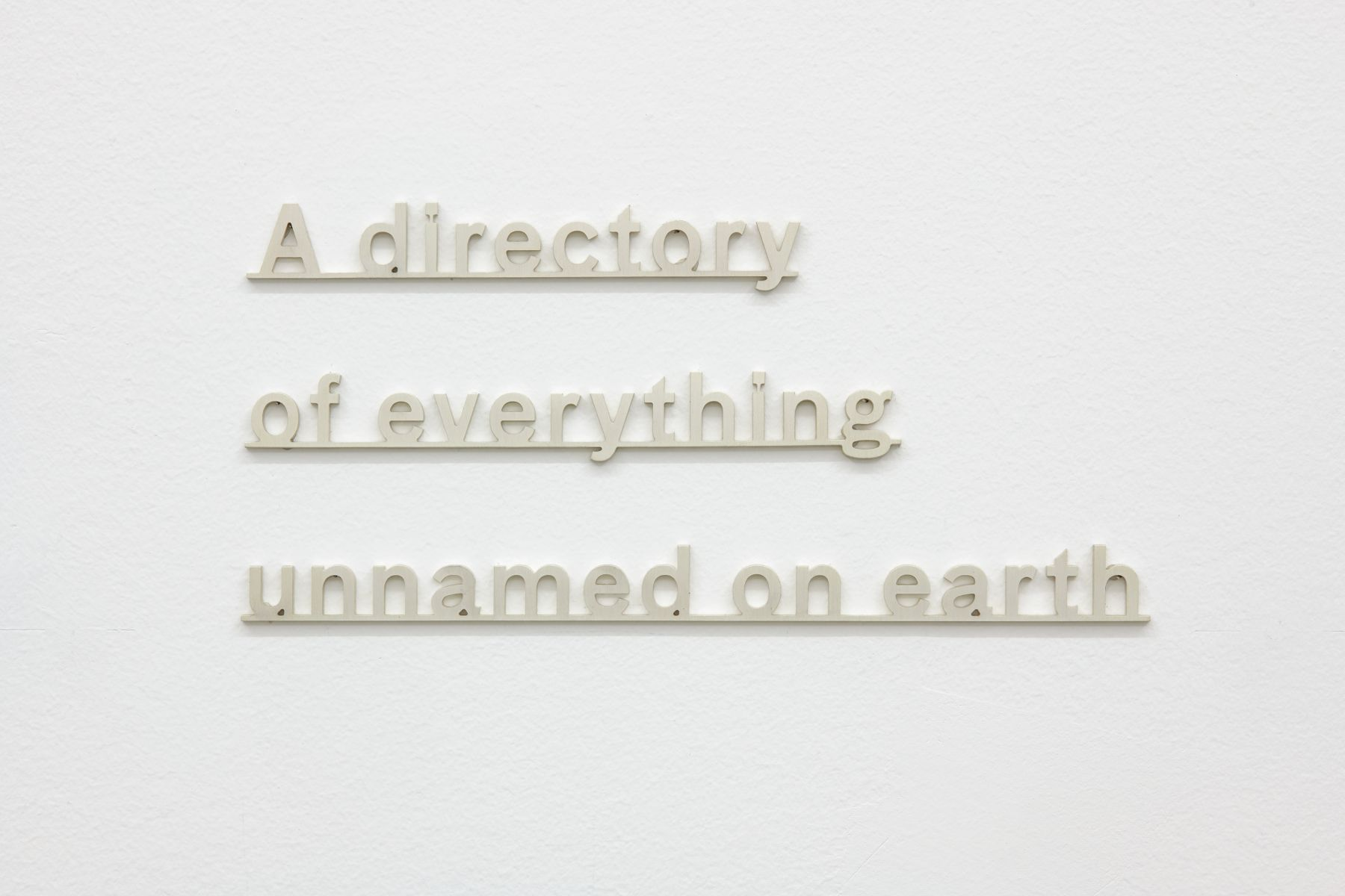 """Silver letters on a wall that read: """"a directory of everything unnamed on earth"""""""