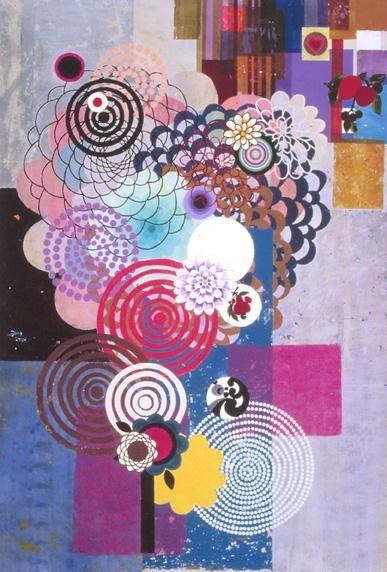 BEATRIZ MILHAZES, Periquita, 2004, Acrylic on canvas, 98 1/2 x 66 3/4 inches