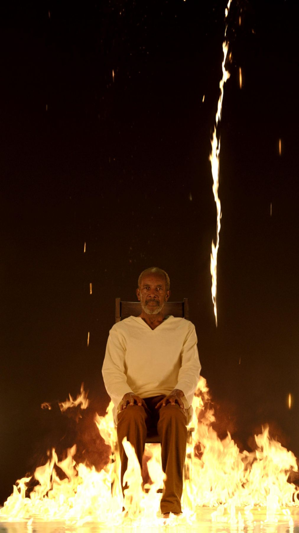 """, BILL VIOLA (æ¯""""å°"""" 维奥拉),Fire Martyr,2014, color high-definition video on plasma display mounted vertically on wall, 42 3/8 x 24 1/2 x 2 5/8 in. 7:10 minutes. Executive producer: Kira Perov,"""