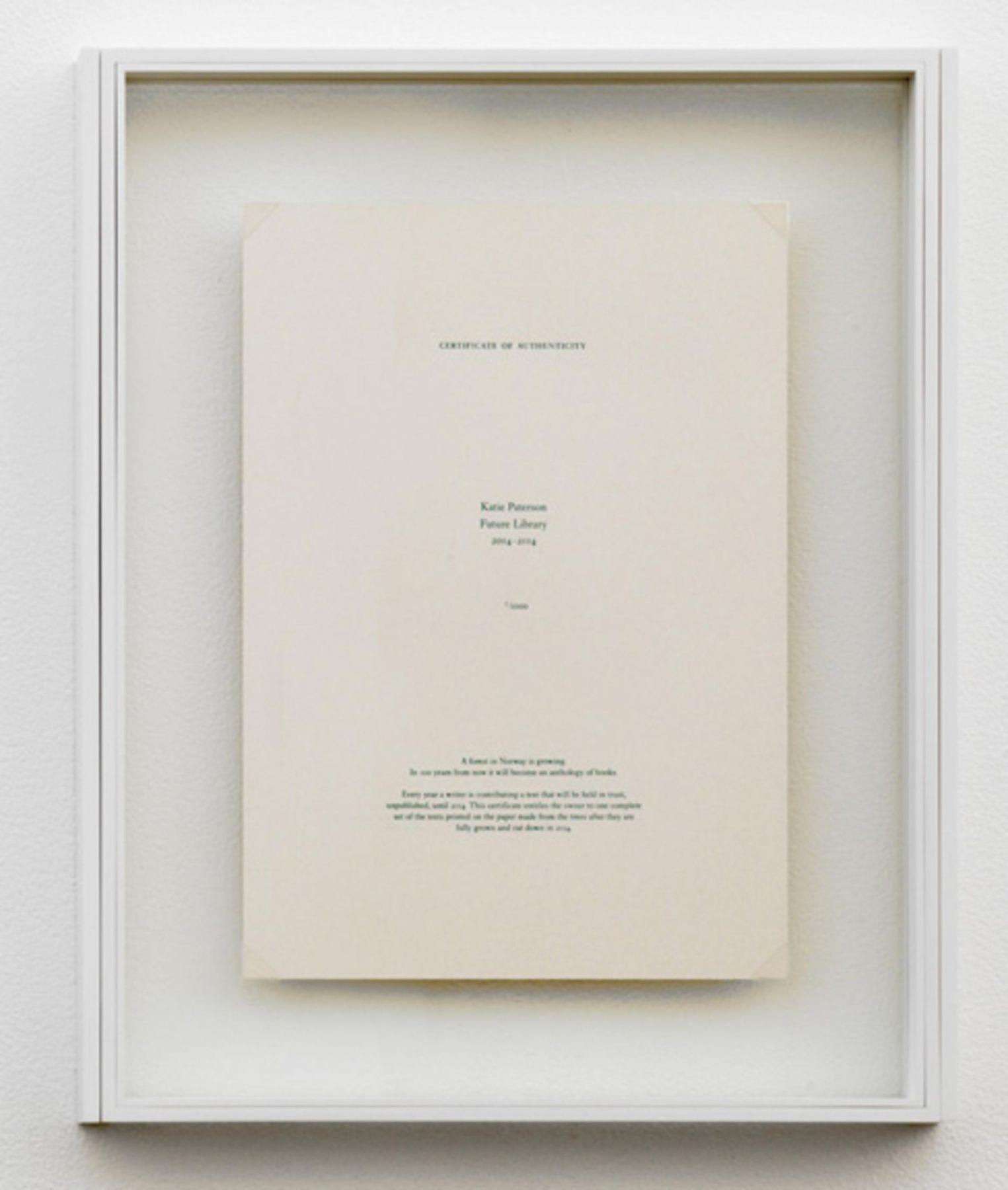 , Katie Paterson, Future Library (certificate), 2014 (reverse)